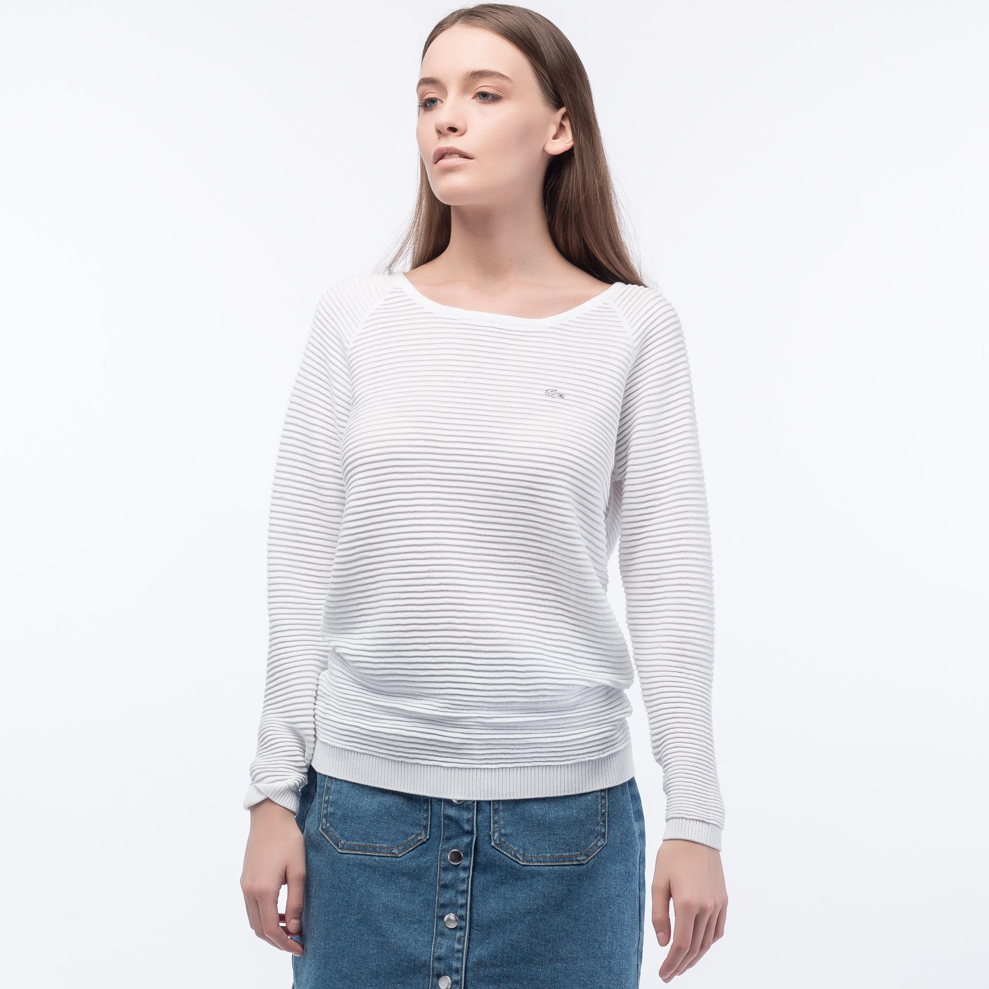 женский свитер lacoste, белый