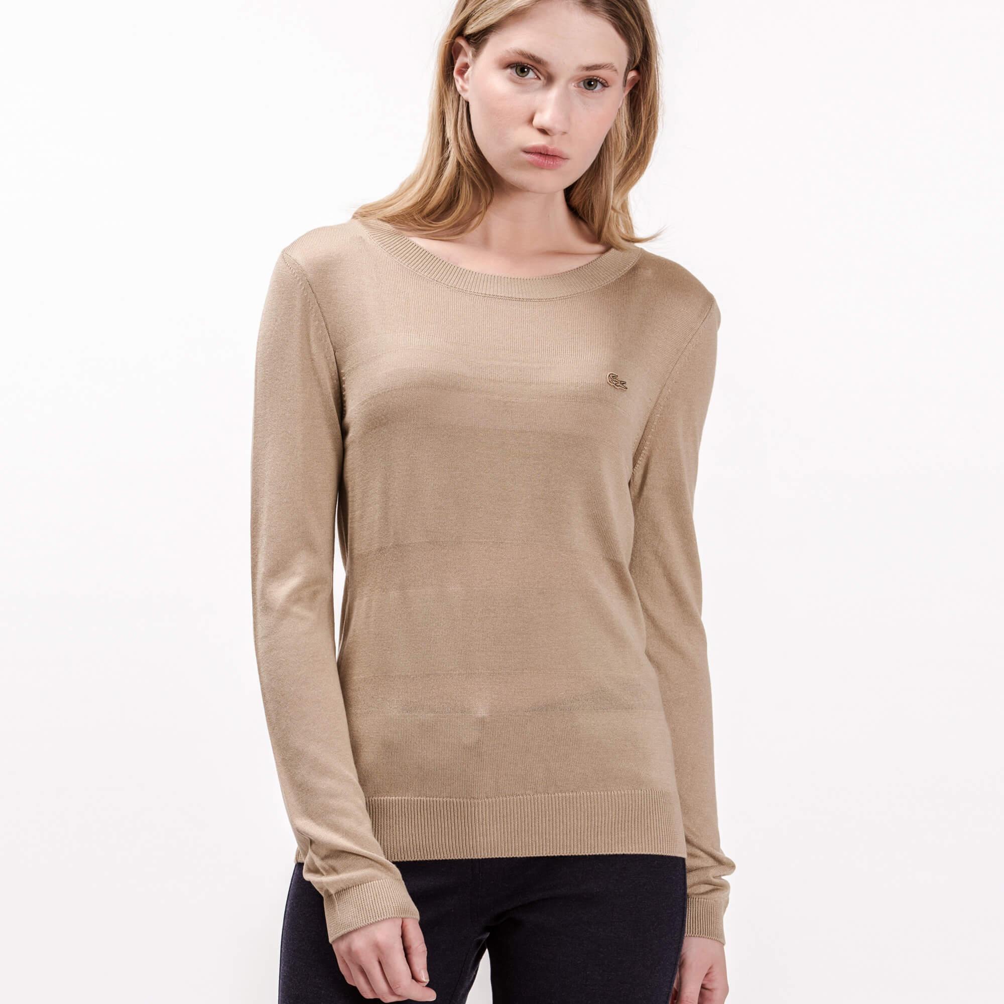 женский свитер lacoste, коричневый