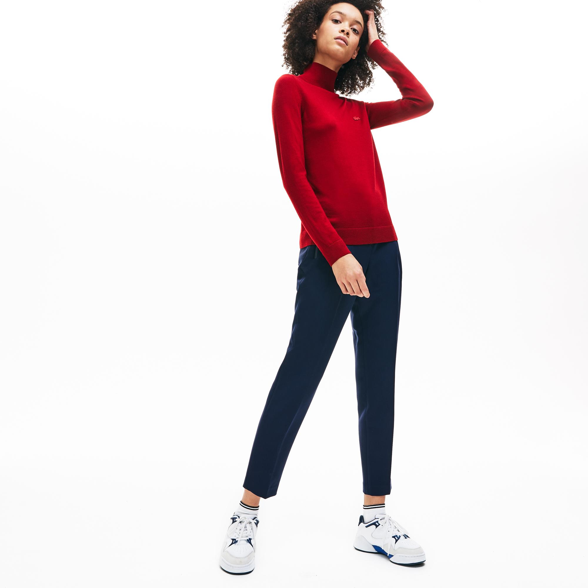 женский свитер lacoste, бордовый