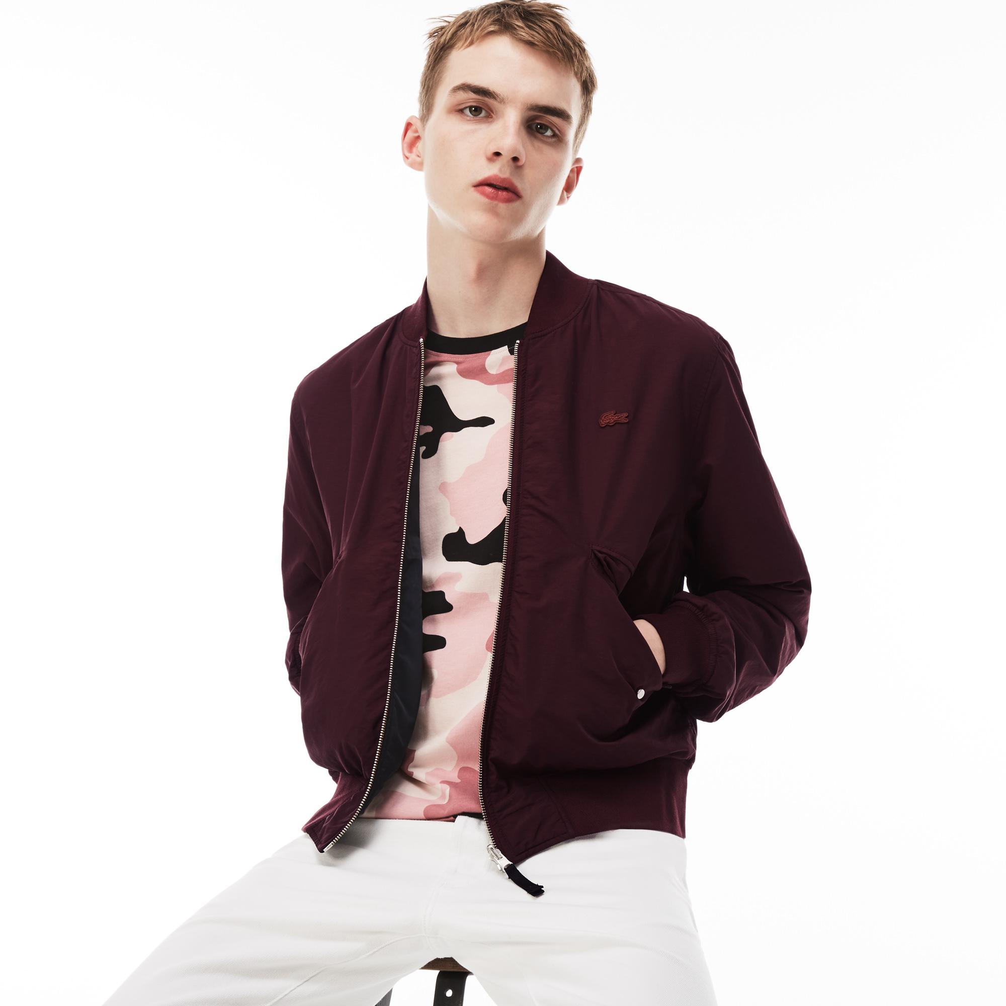 мужская куртка lacoste, бордовая