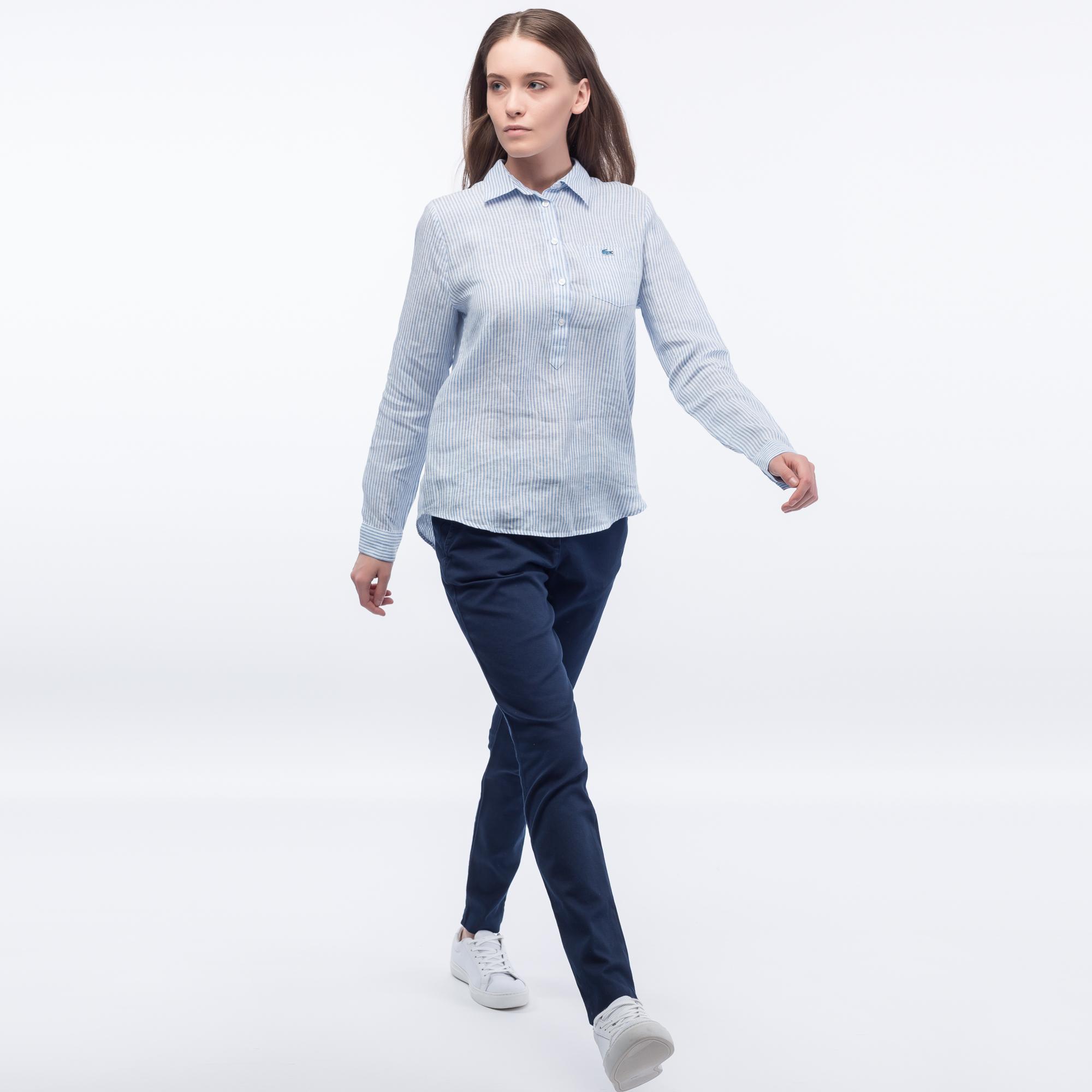 Фото 2 - Рубашку Lacoste Loose fit голубого цвета