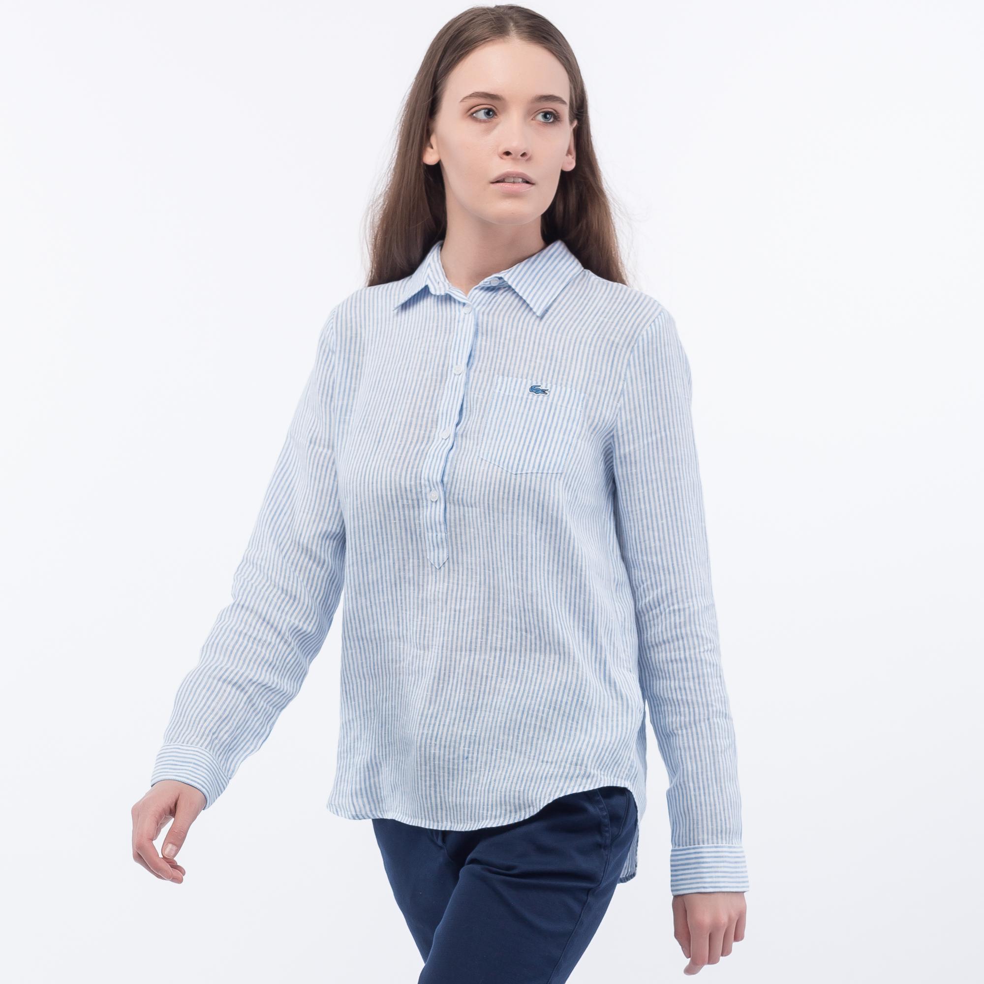 Фото 3 - Рубашку Lacoste Loose fit голубого цвета