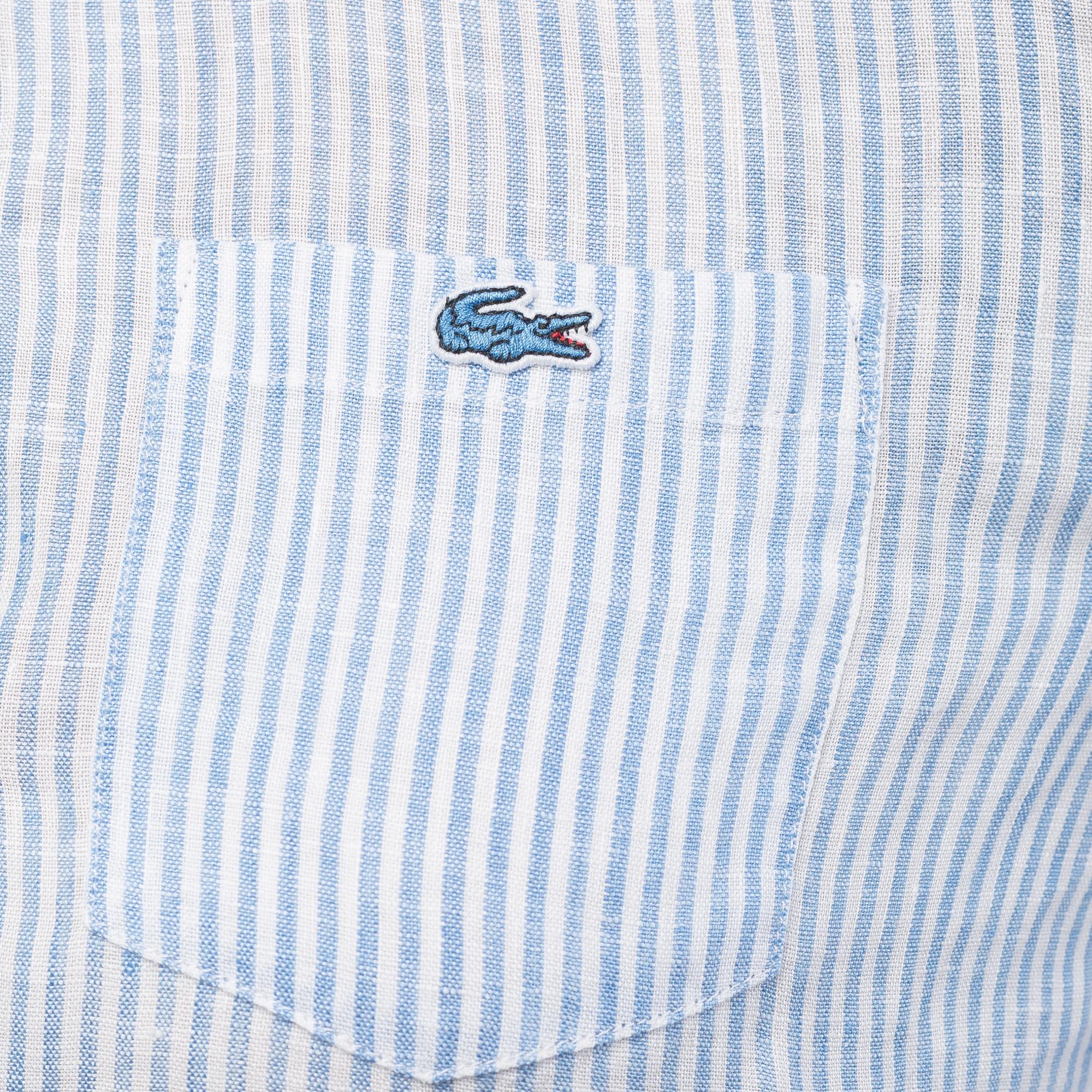Фото 5 - Рубашку Lacoste Loose fit голубого цвета