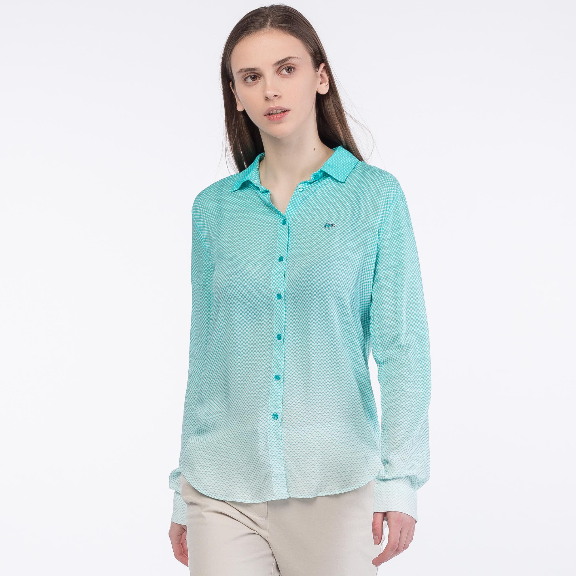 женская рубашка lacoste, голубая
