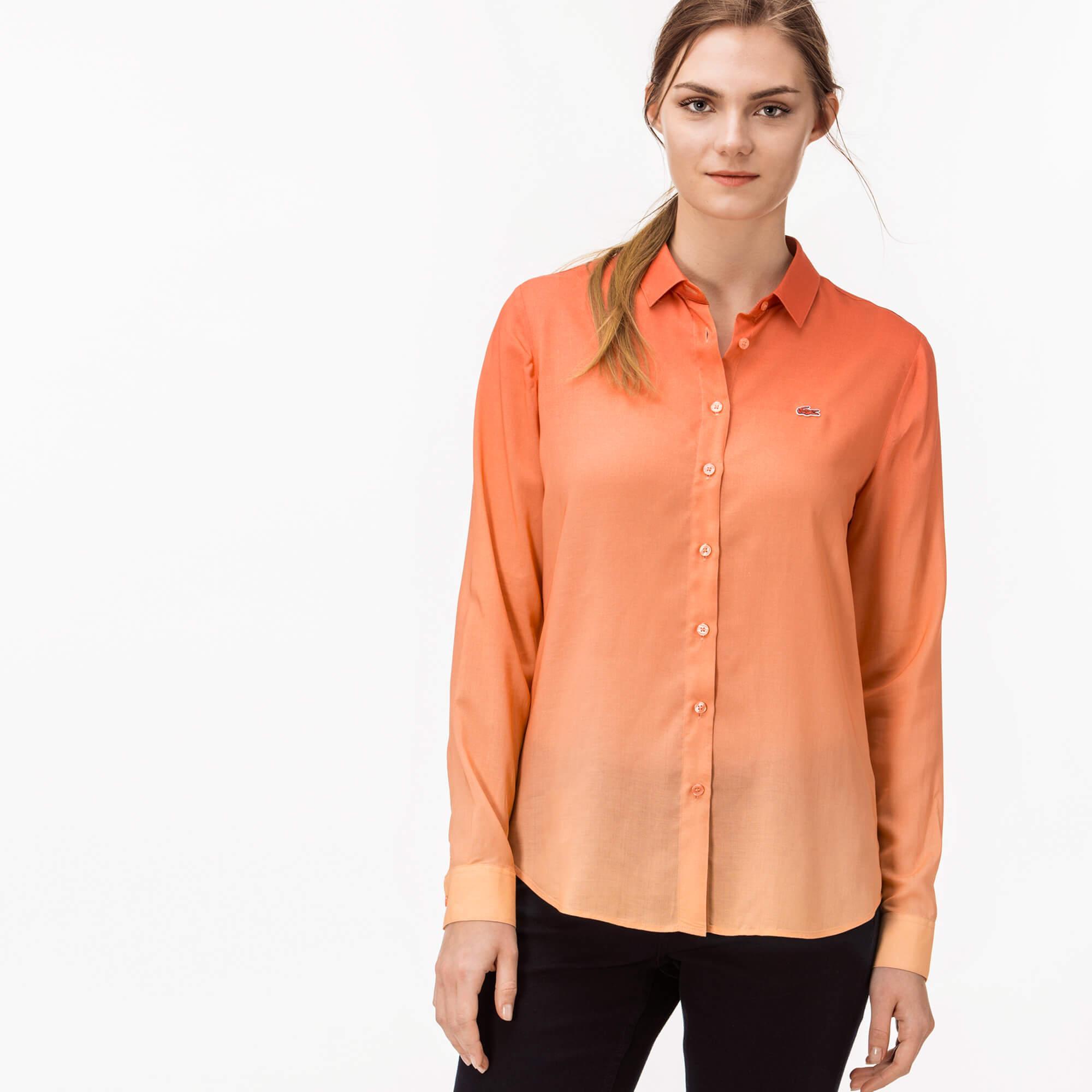 женская рубашка lacoste, персиковая