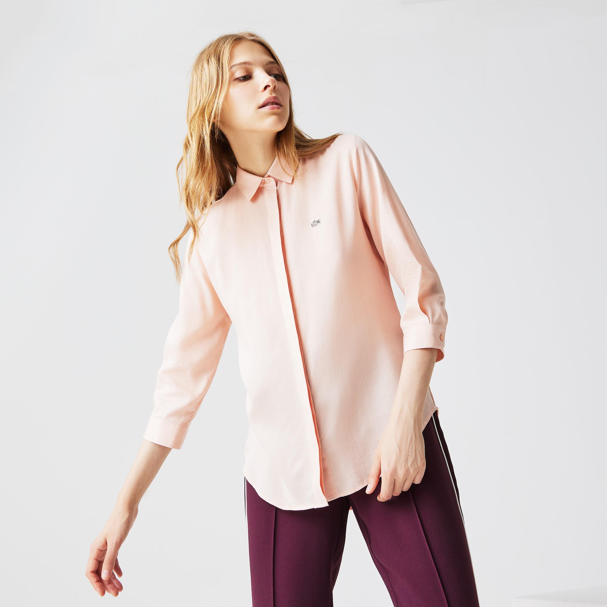 женская рубашка lacoste, розовая