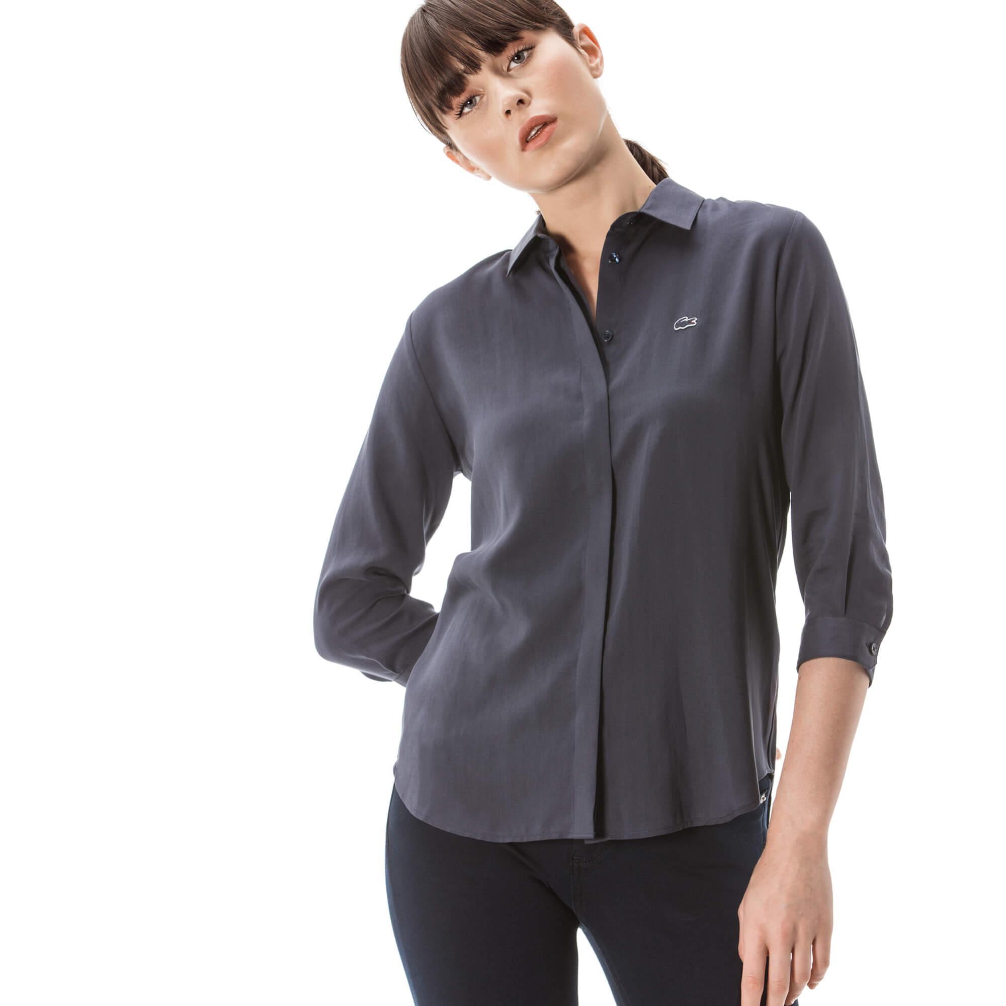 женская рубашка lacoste, серая