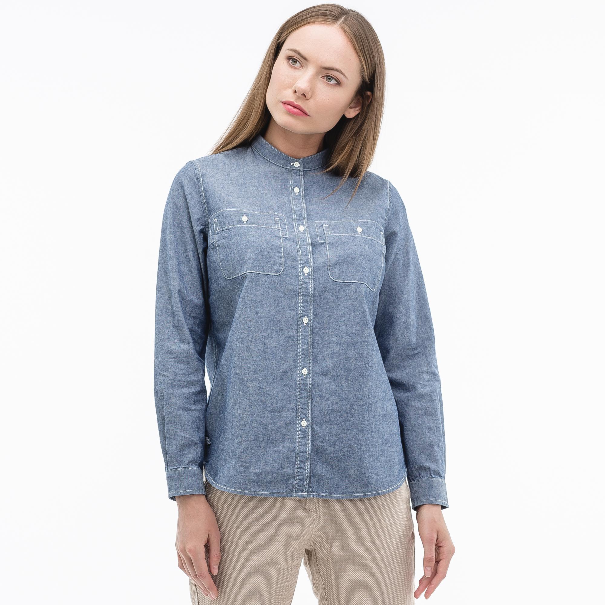 Фото 3 - Рубашку Lacoste Loose fit синего цвета