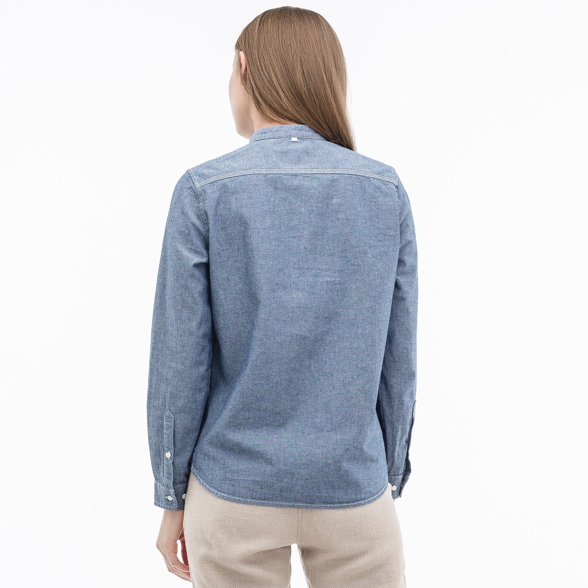 Фото 4 - Рубашку Lacoste Loose fit синего цвета
