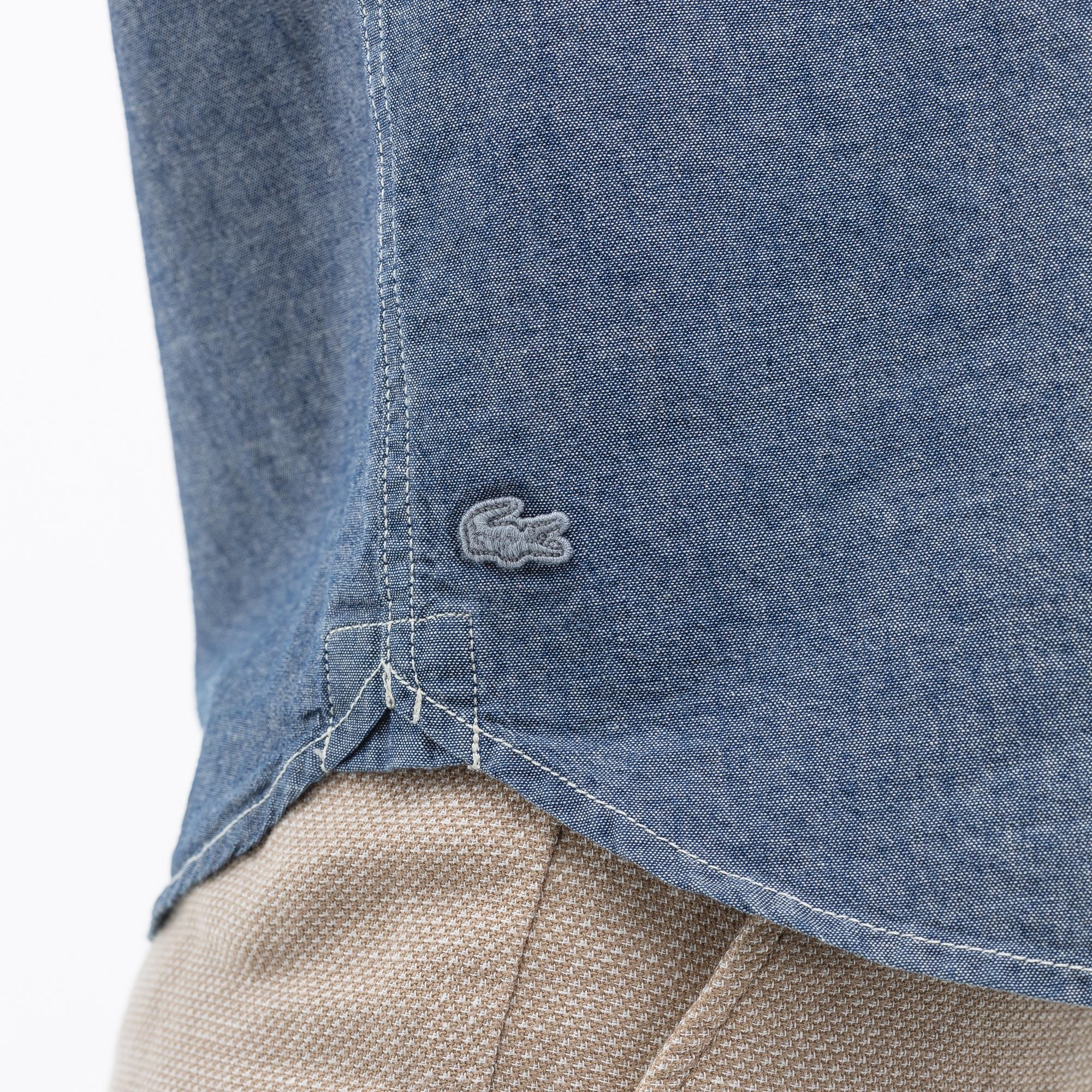 Фото 5 - Рубашку Lacoste Loose fit синего цвета