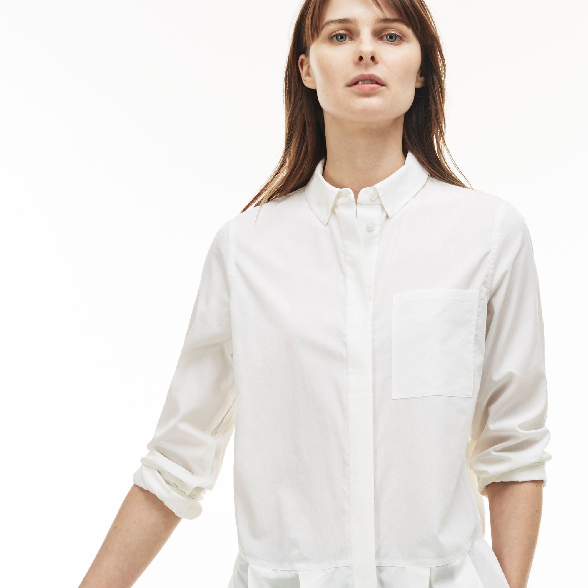 Рубашка Lacoste Regular fitБлузы и рубашки<br>Детали: стильная женская рубашка с плиссированным низом \ Материал: 84% хлопок 16% шелк \ Страна производства: Китай