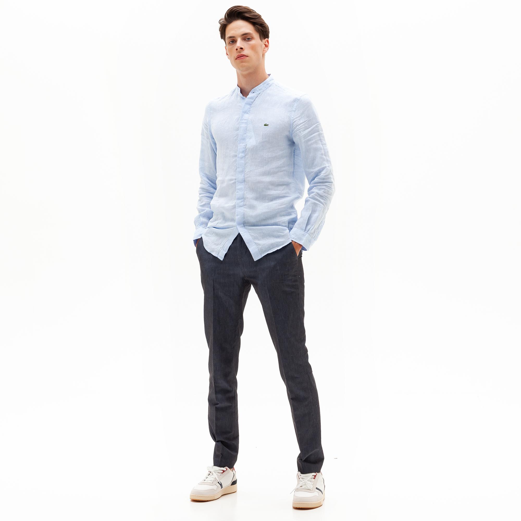 мужская рубашка lacoste, голубая