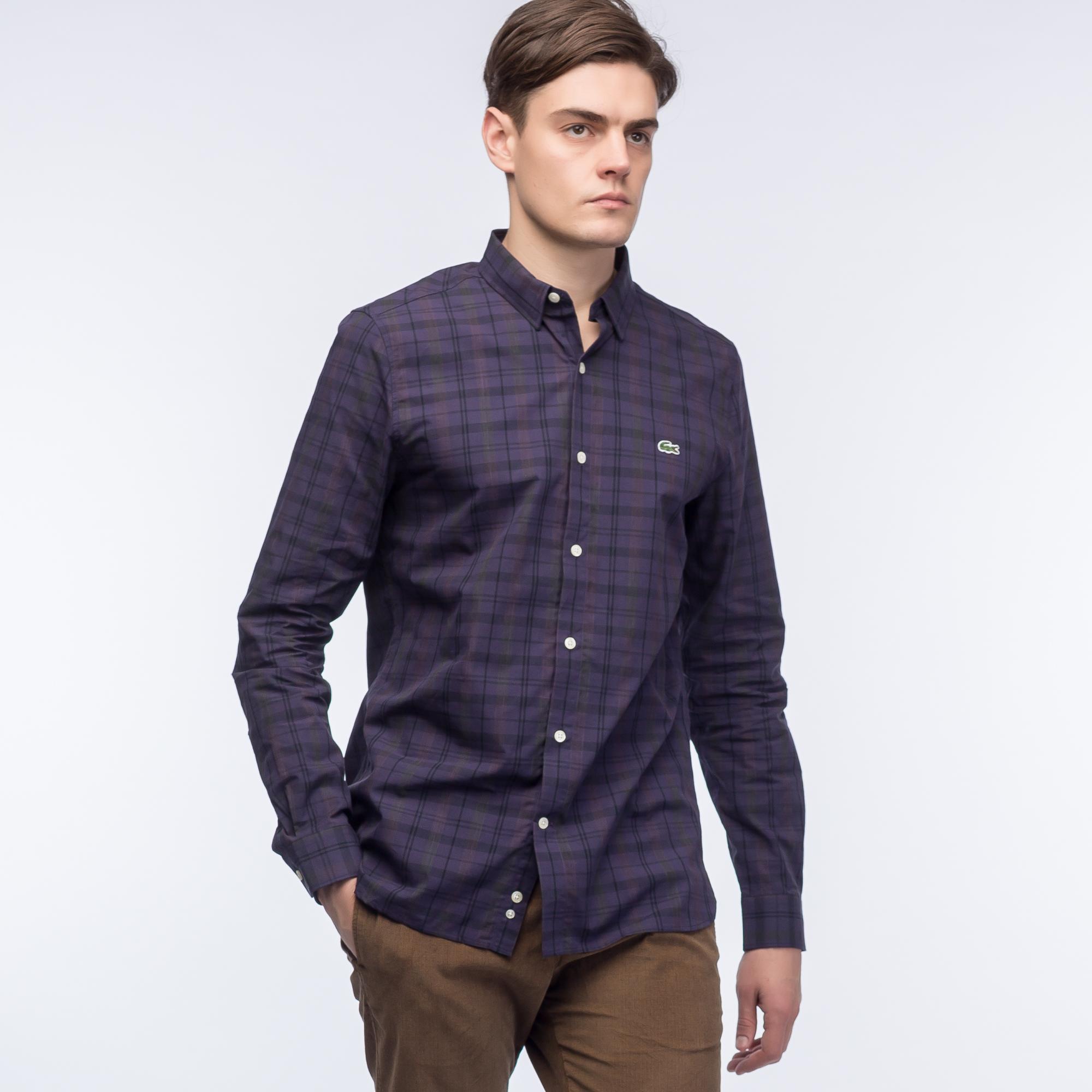 Рубашка Lacoste Regular FitРубашки<br>Рубашка из 100% хлопка с ярким рисунком и контарстными пуговицами.