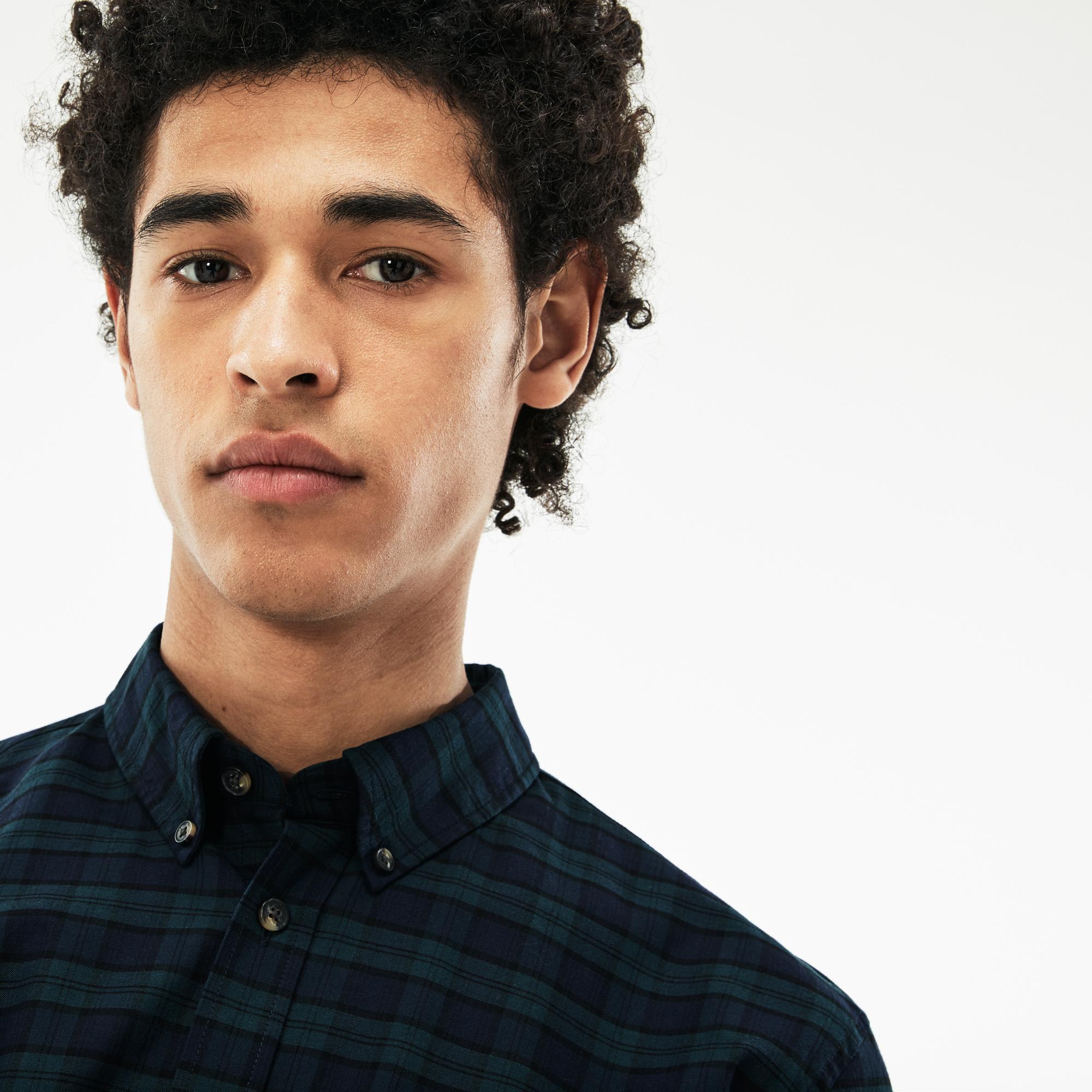 Фото 4 - Мужскую рубашку Lacoste темно-синего цвета