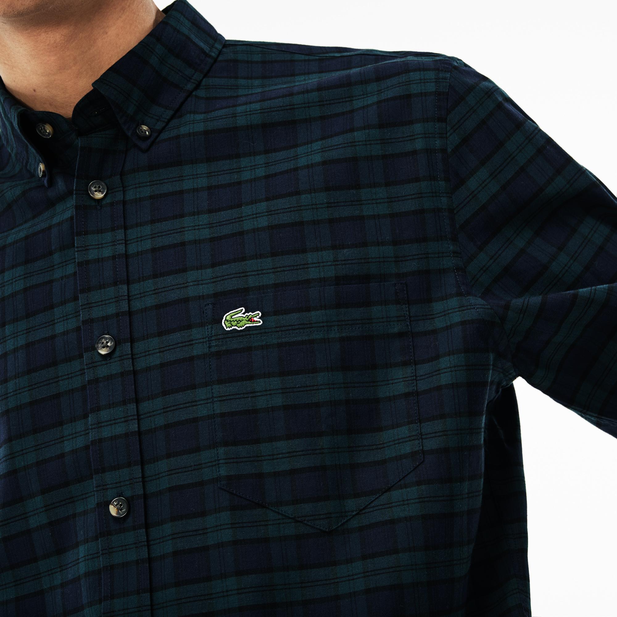 Фото 5 - Мужскую рубашку Lacoste темно-синего цвета