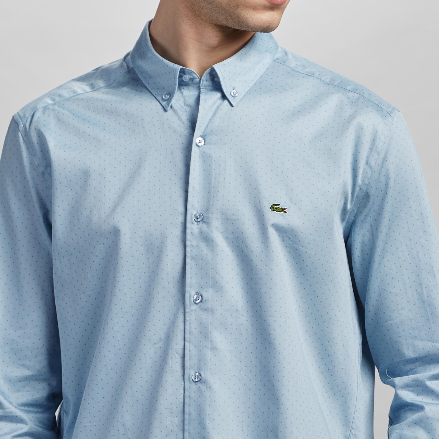 Фото 5 - Мужскую рубашку Lacoste голубого цвета