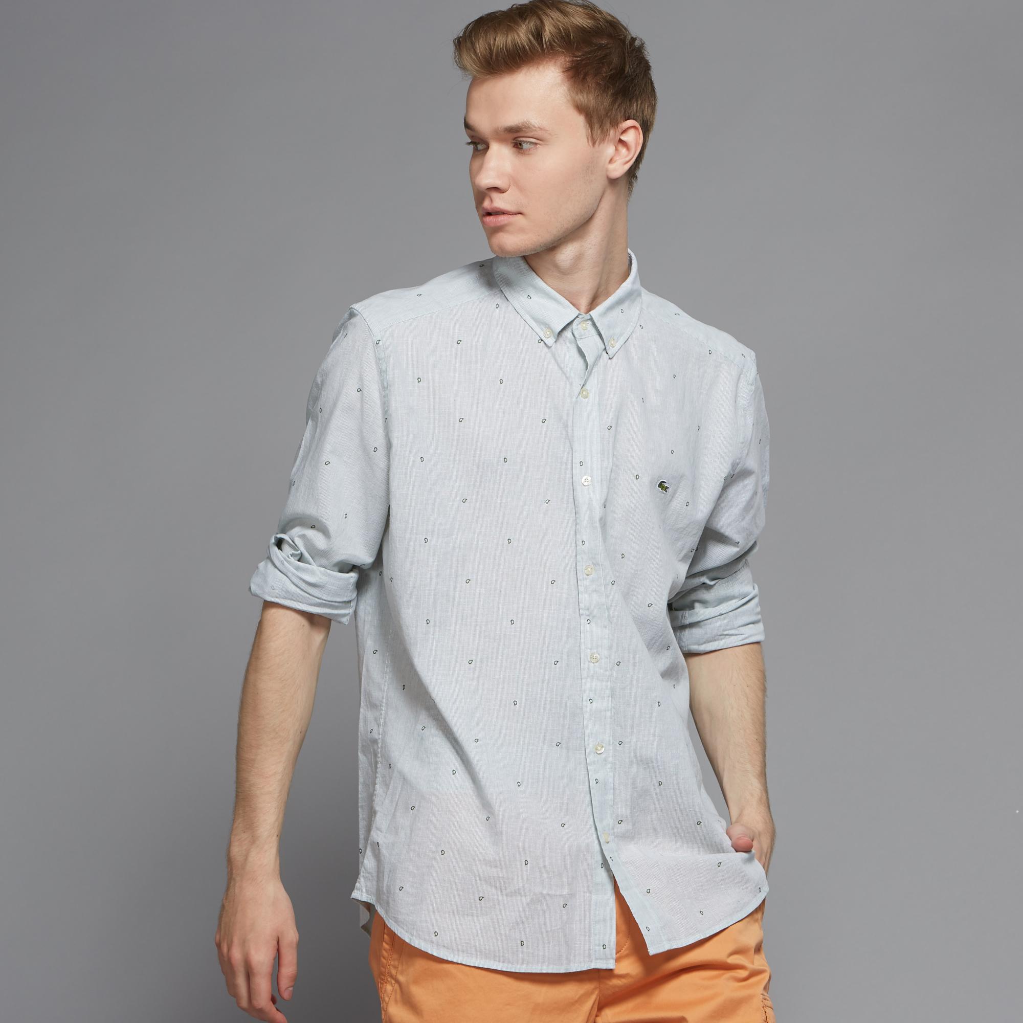 Рубашка Lacoste Regular fitРубашки<br>Детали: стильная мужская рубашка из хлопка и льна  \ Материал: 70% хлопок 30% лен \ Страна производства: Турция