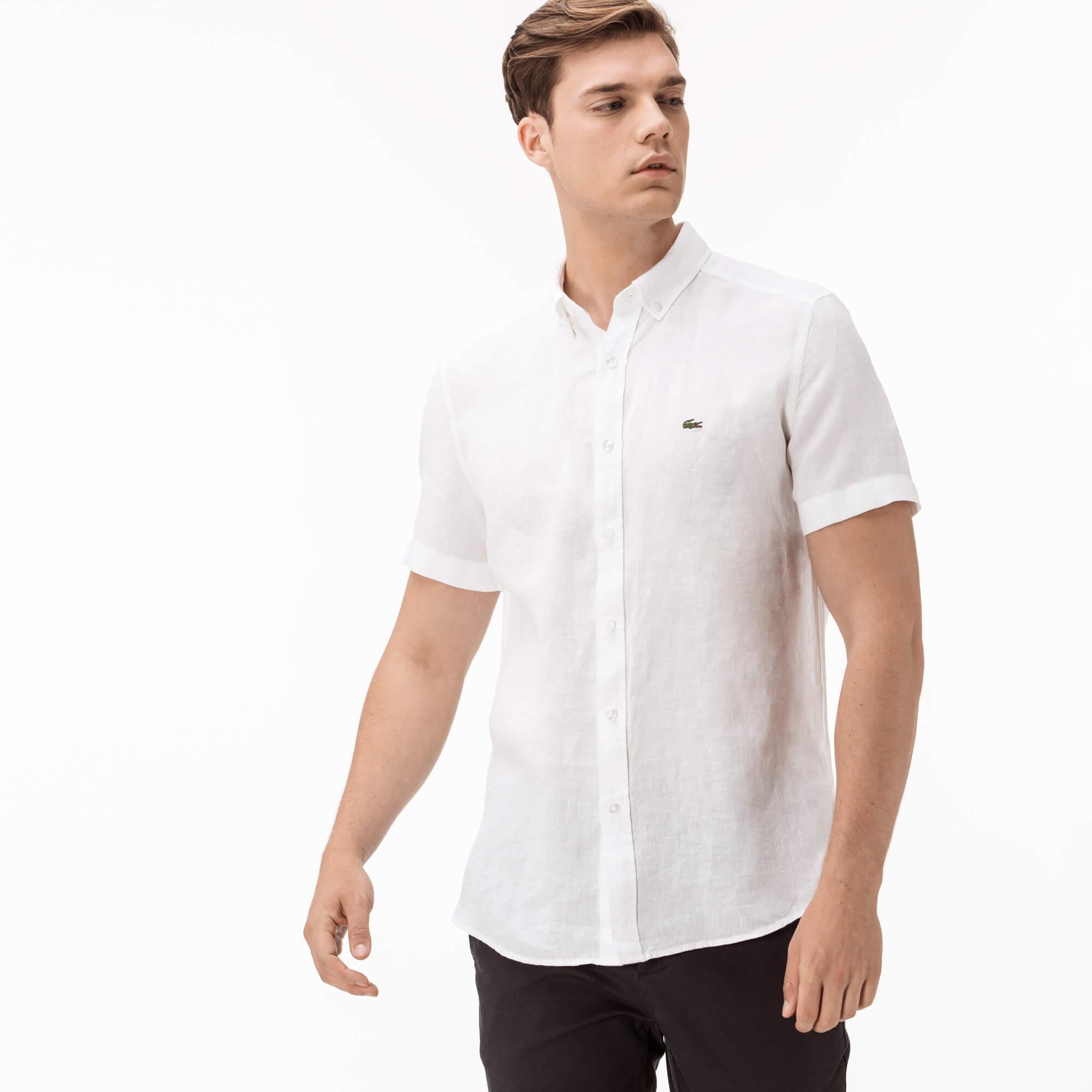 Фото 3 - Мужскую рубашку Lacoste белого цвета