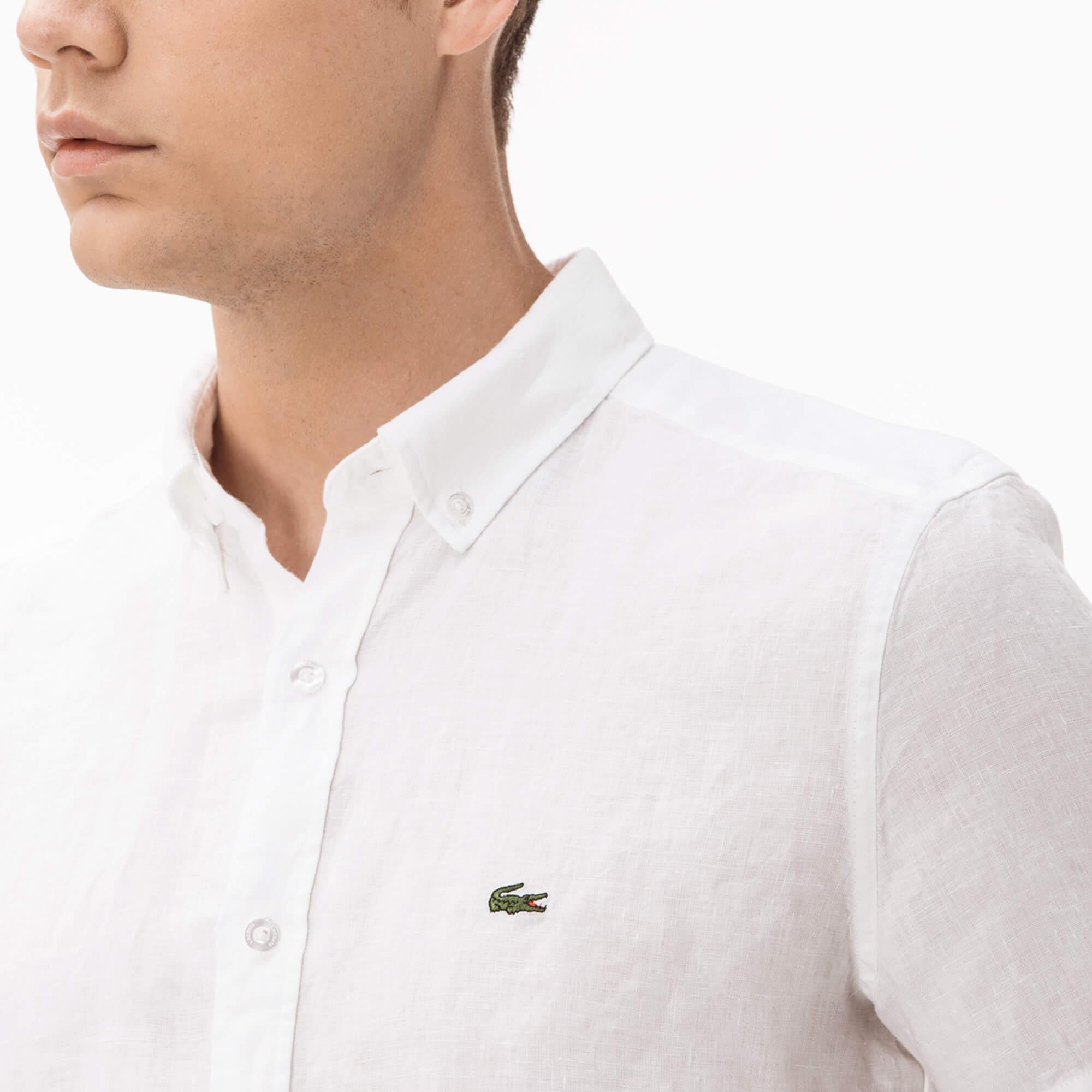 Фото 4 - Мужскую рубашку Lacoste белого цвета