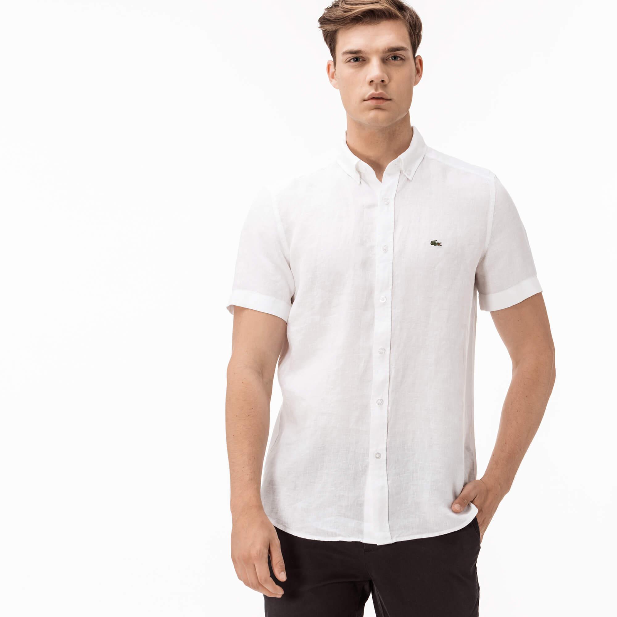 Фото - Мужскую рубашку Lacoste белого цвета