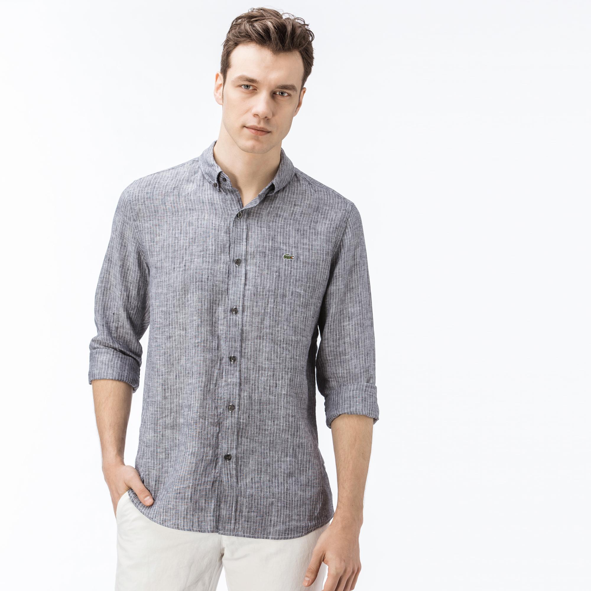 Рубашка LacosteРубашки<br>Детали: выполнена из натурального и экологичного льна;\Воротник button-down;\В полоску;\Вышитый логотип Lacoste\Материал: 97% хлопок 3% полиамид