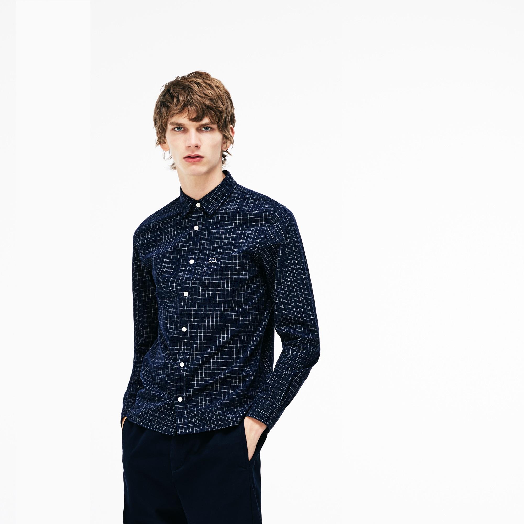 мужская рубашка lacoste, синяя