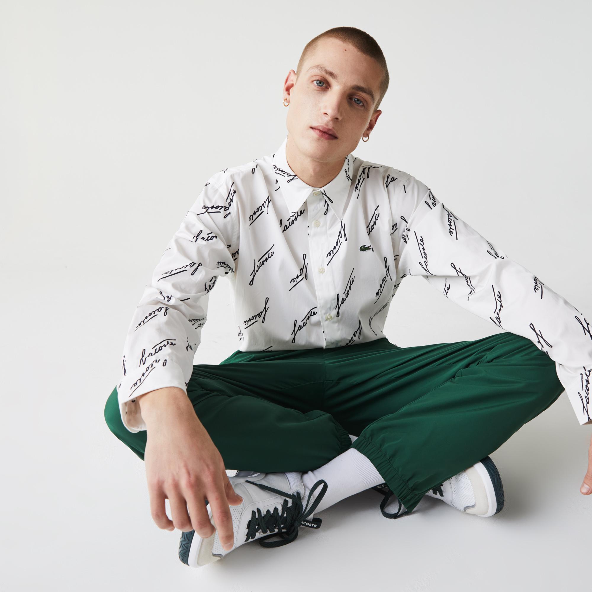 мужская рубашка lacoste, серая
