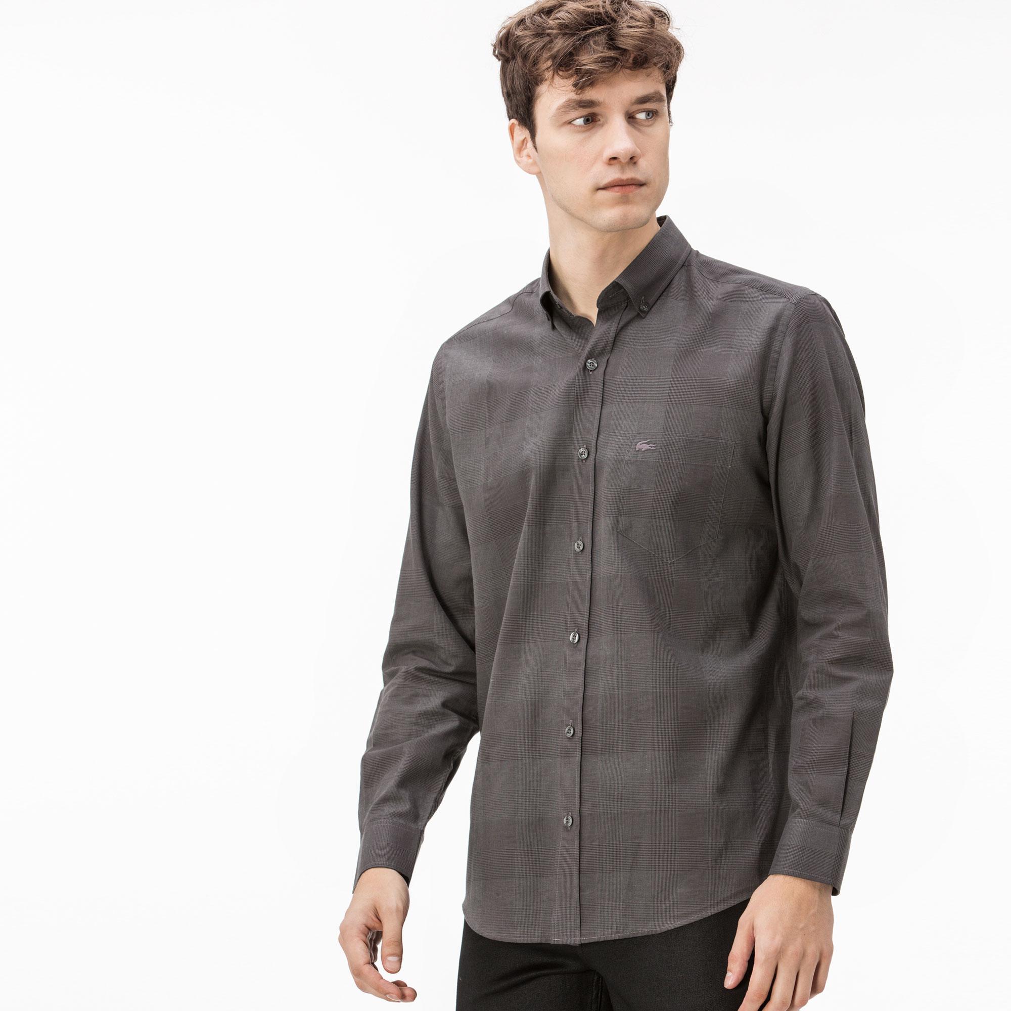 Фото 3 - Мужскую рубашку Lacoste серого цвета