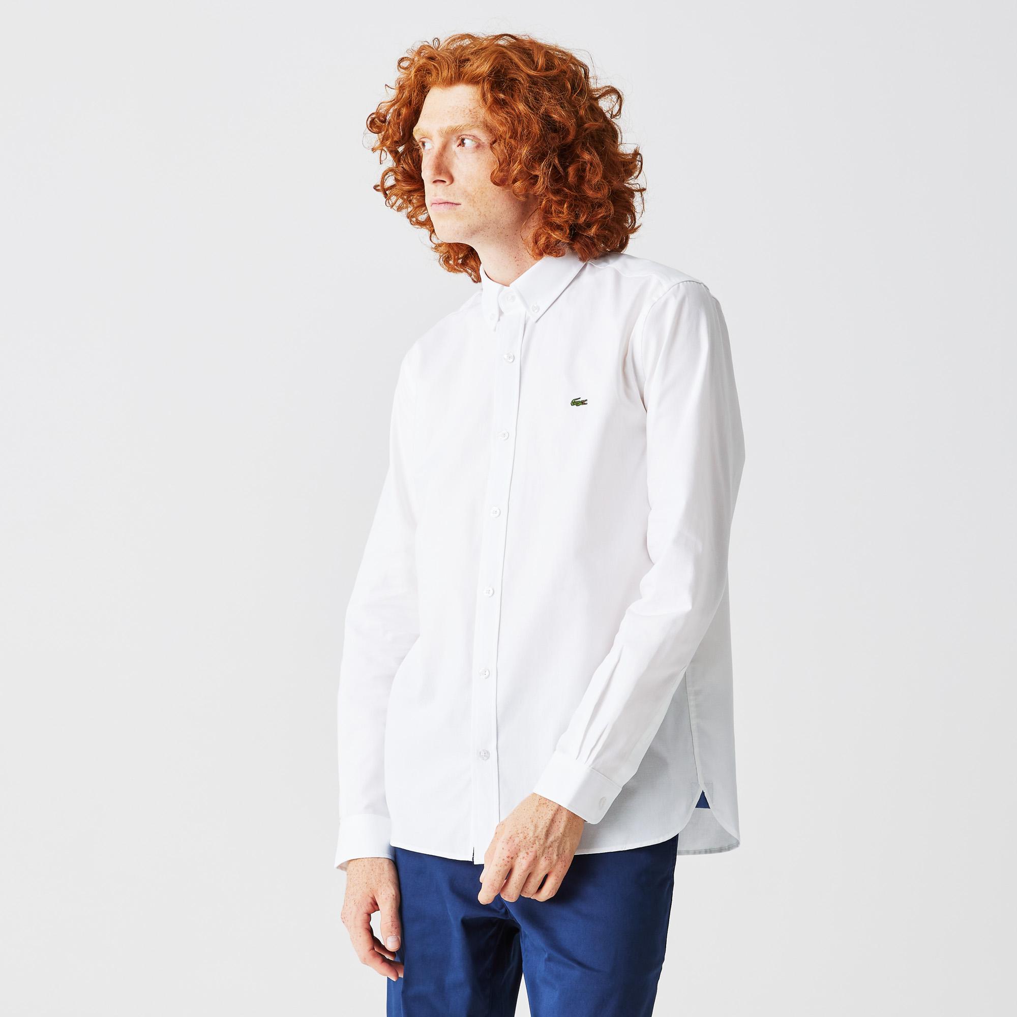 мужская рубашка lacoste, белая