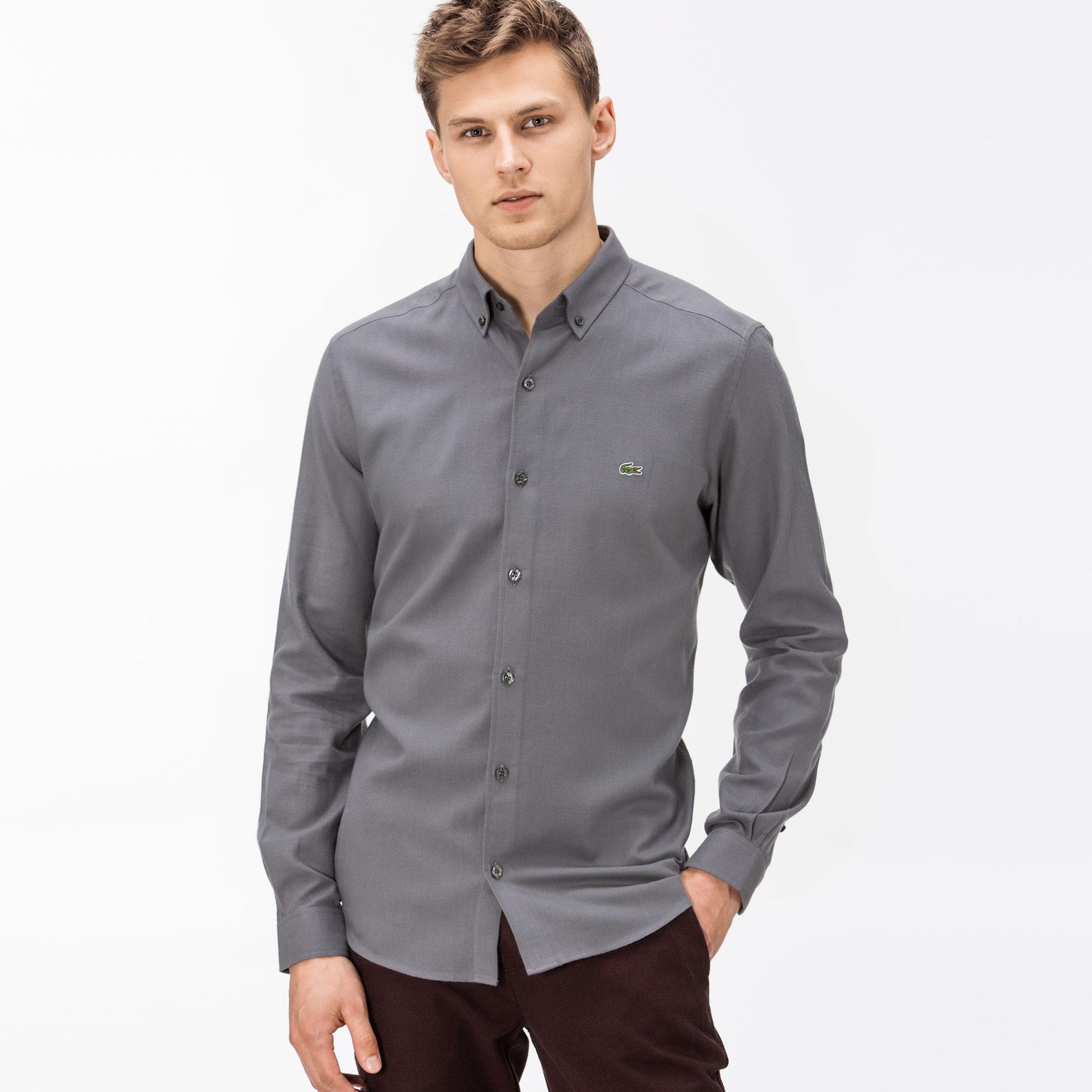 Фото - Мужскую рубашку Lacoste серого цвета