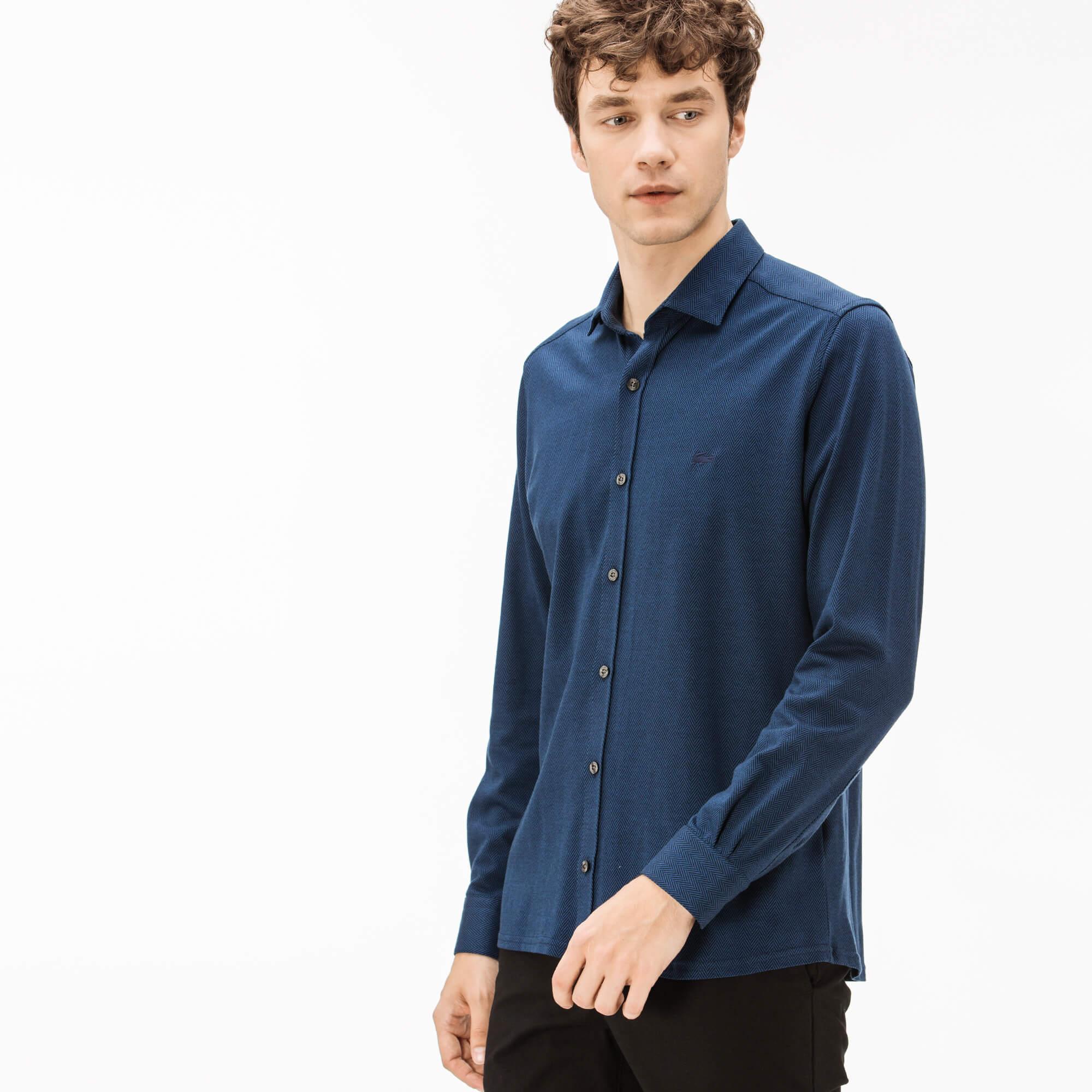 Фото 3 - Мужскую рубашку Lacoste темно-синего цвета