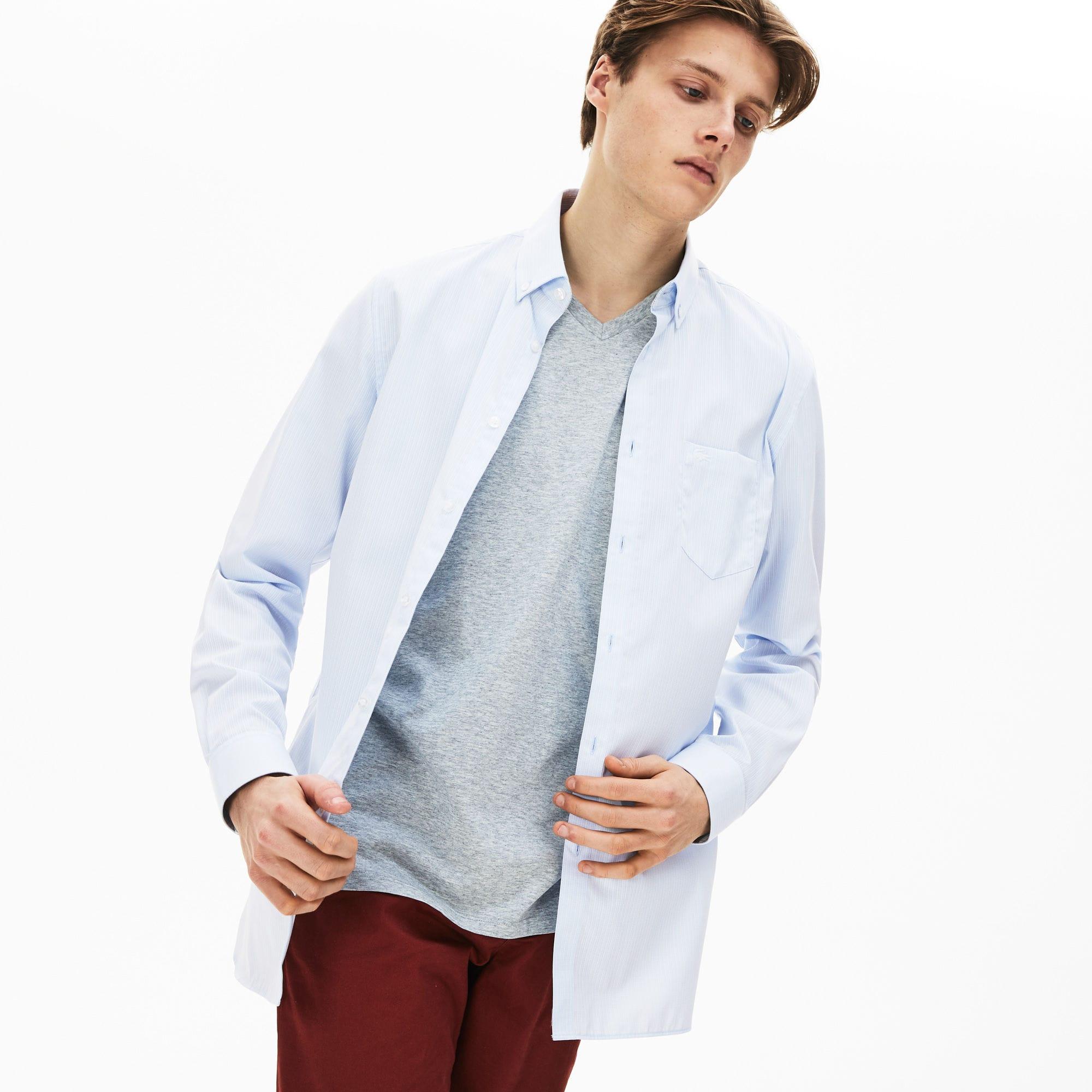 Рубашка LacosteРубашки<br>Детали: воротник button-down;\Выполнена из натурального и экологичного хлопка;\В полоску;\Карман на груди;\Вышитый логотип Lacoste в тон изделия\Материал:100% хлопок