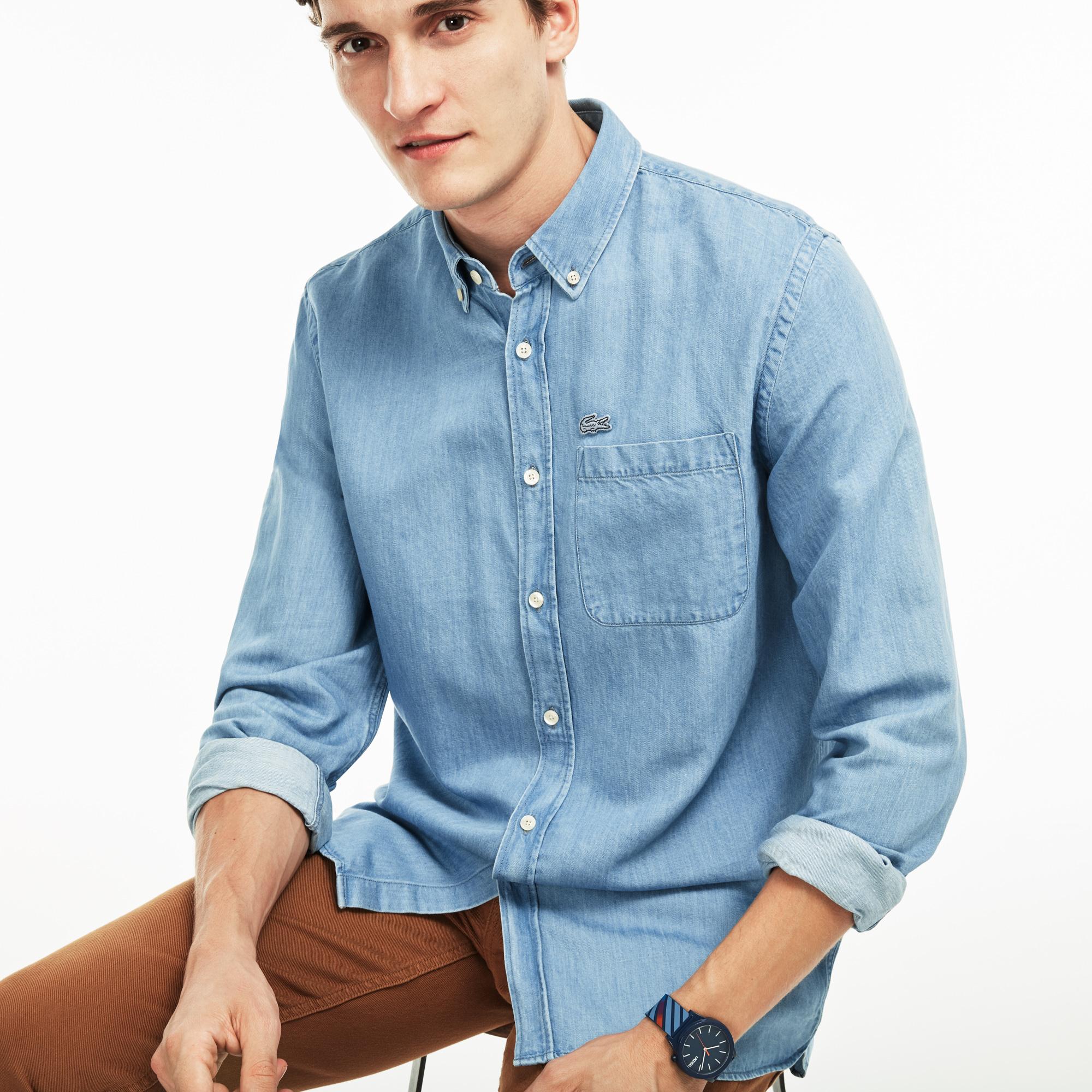 Рубашка Lacoste Regular fitРубашки<br>Детали: мужская рубашка из хлопка и льна  \ Материал: 60% хлопок 40% лен \ Страна производства: Тунис