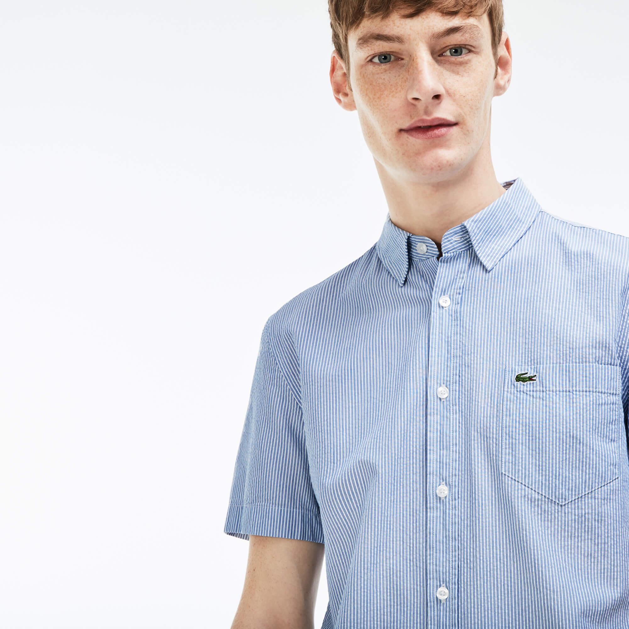 Фото 2 - Мужскую рубашку Lacoste голубого цвета