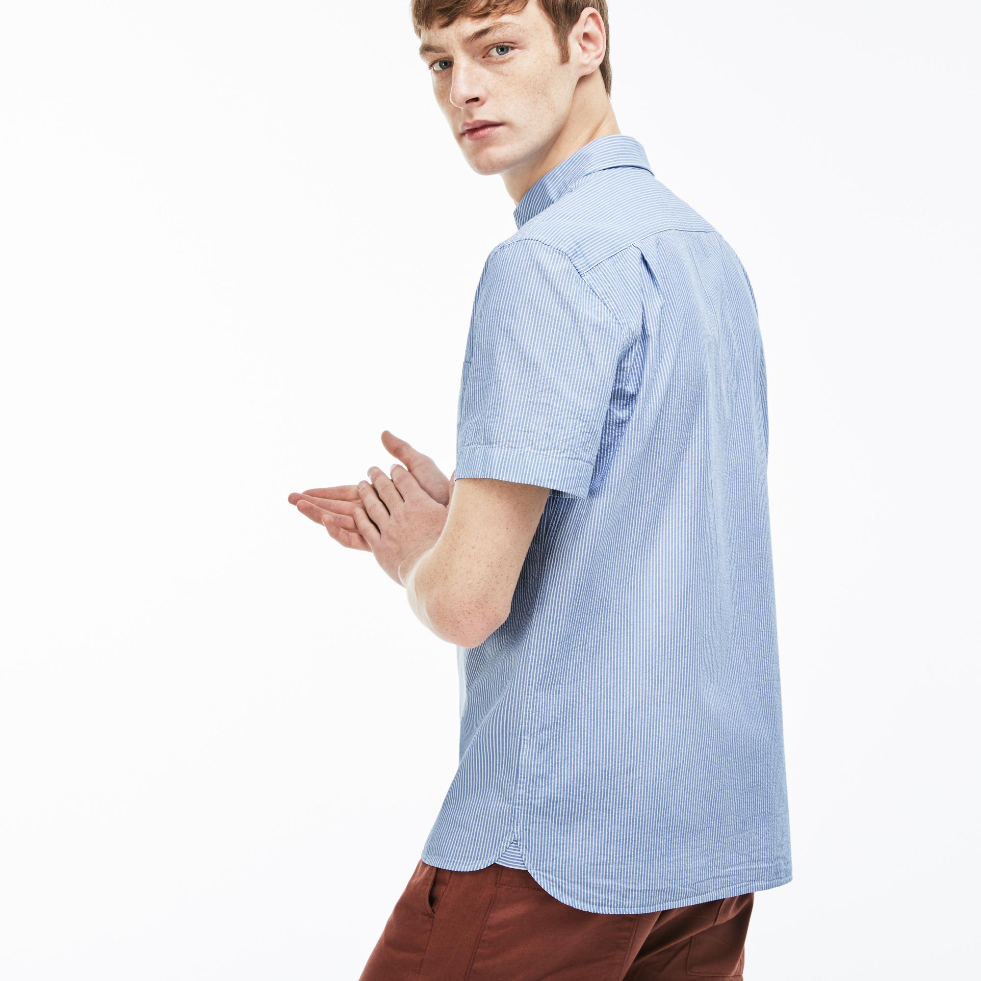 Фото 3 - Мужскую рубашку Lacoste голубого цвета