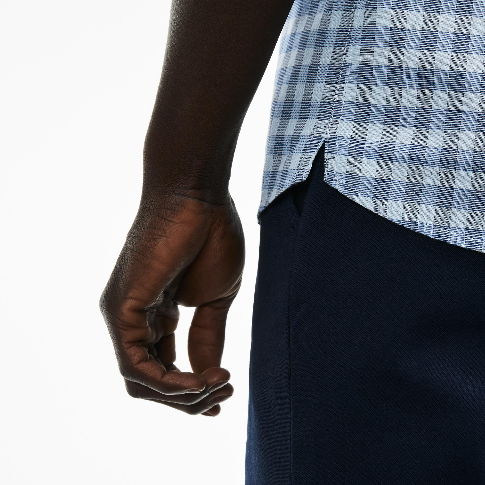 Фото 4 - Рубашку Lacoste Regular fit голубого цвета