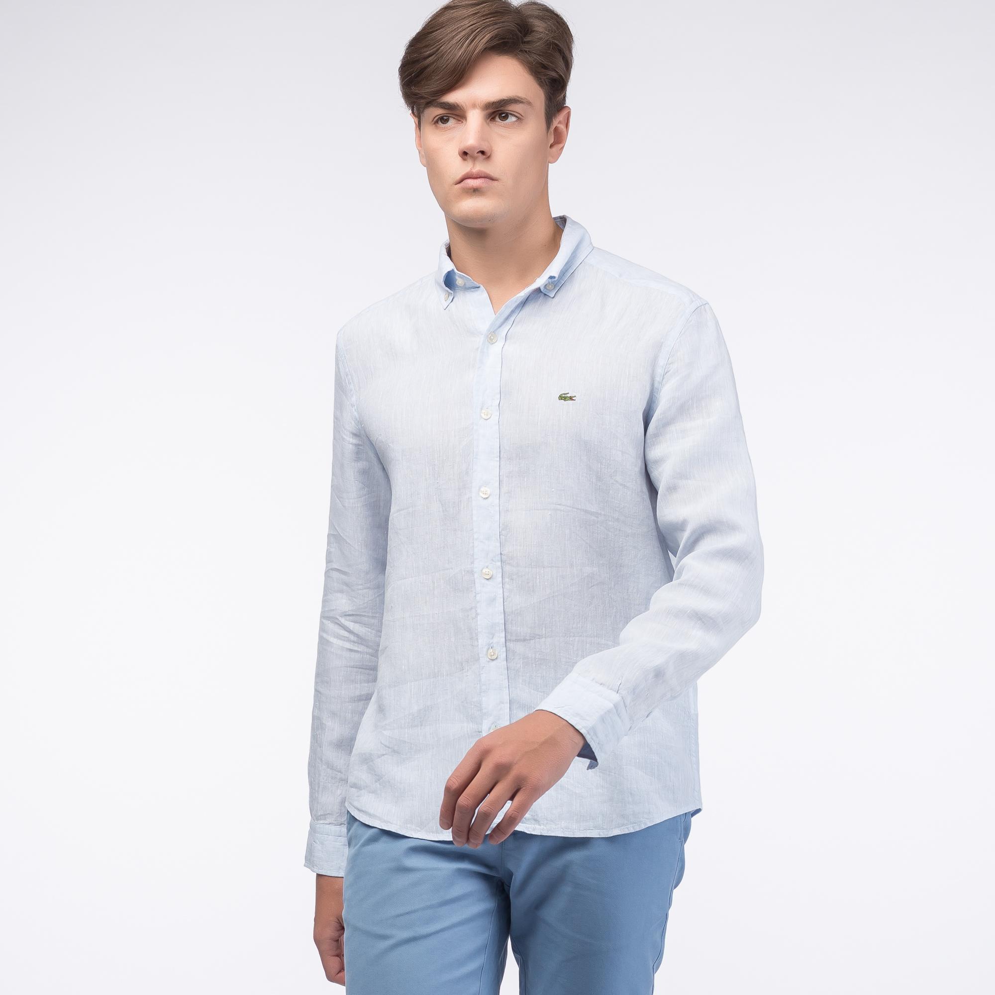 Фото 3 - Рубашку Lacoste Regular fit голубого цвета
