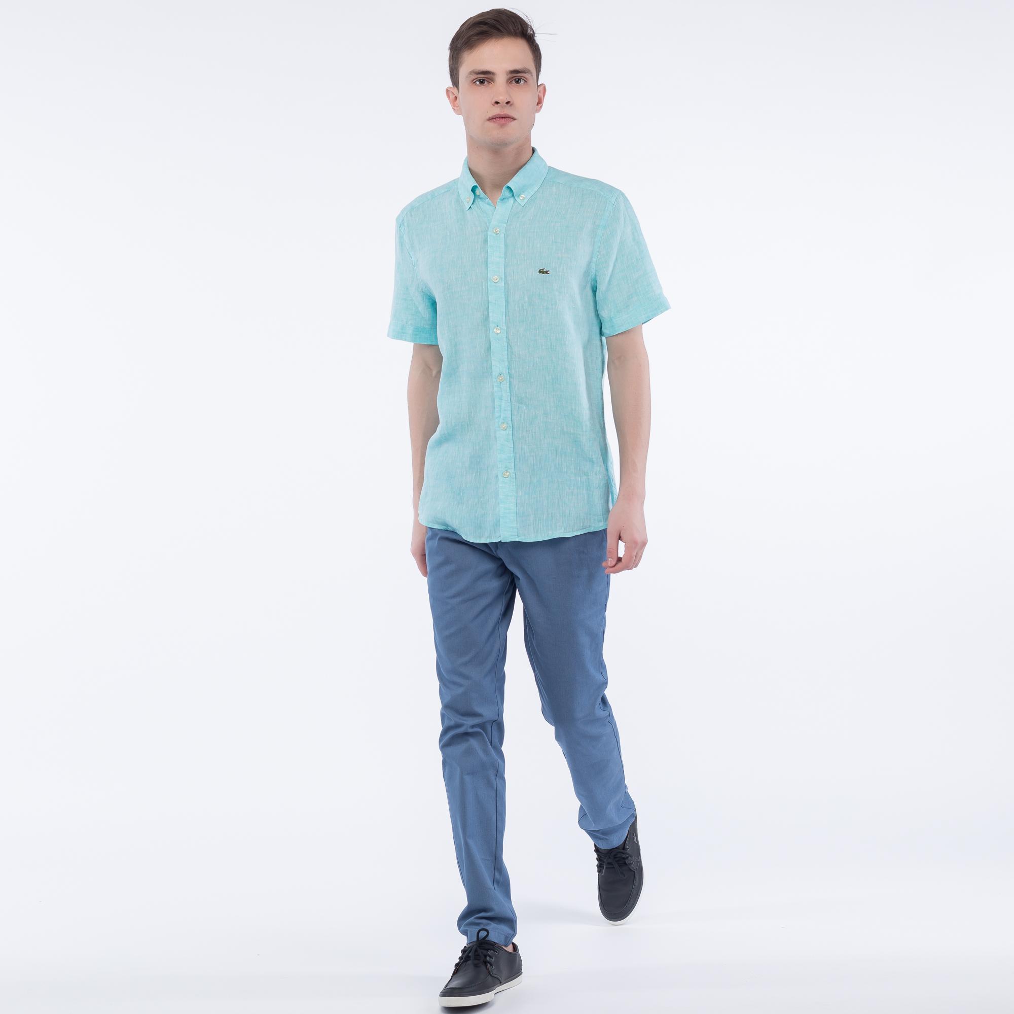 Фото 2 - Рубашку Lacoste Regular fit бирюзового цвета