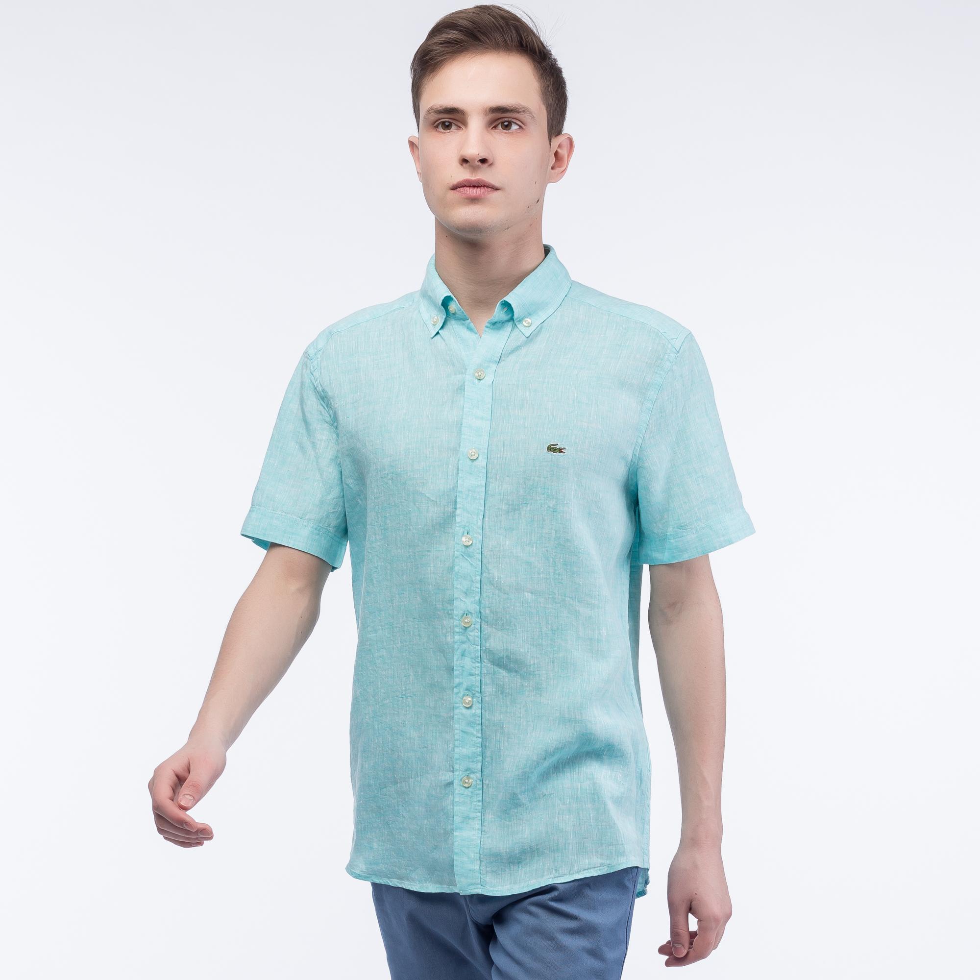 Фото 3 - Рубашку Lacoste Regular fit бирюзового цвета