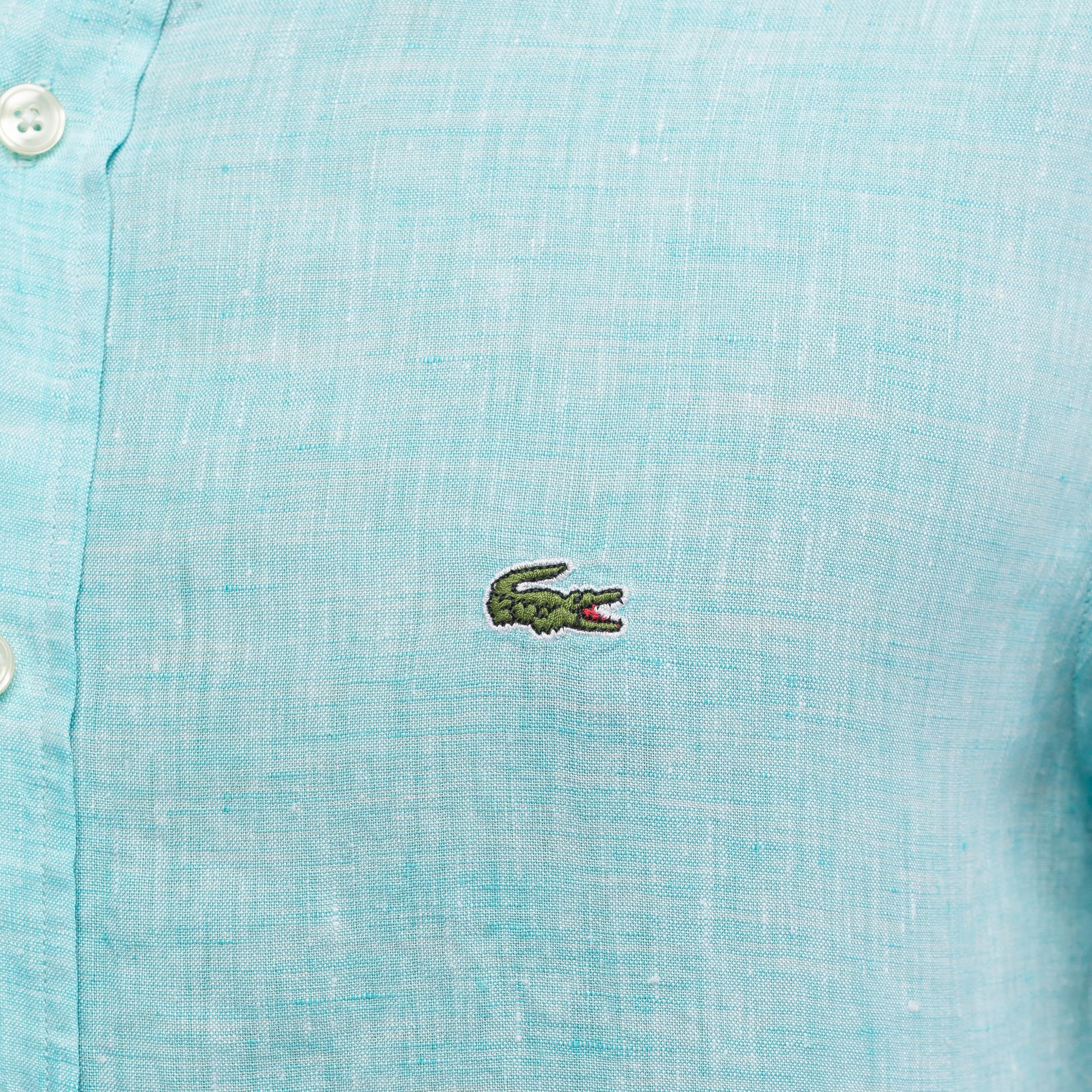 Фото 5 - Рубашку Lacoste Regular fit бирюзового цвета