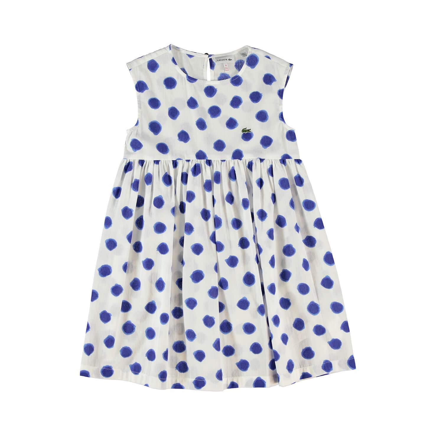 Платье LacosteДетское<br>Детали: стильное платье с принтом и круглым вырезом \ Материал: 100% хлопок \ Страна производства: Китай