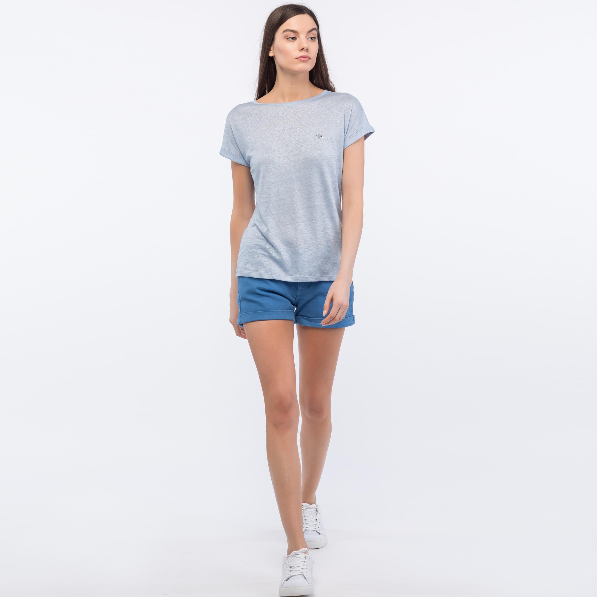 женские шорты lacoste, голубые