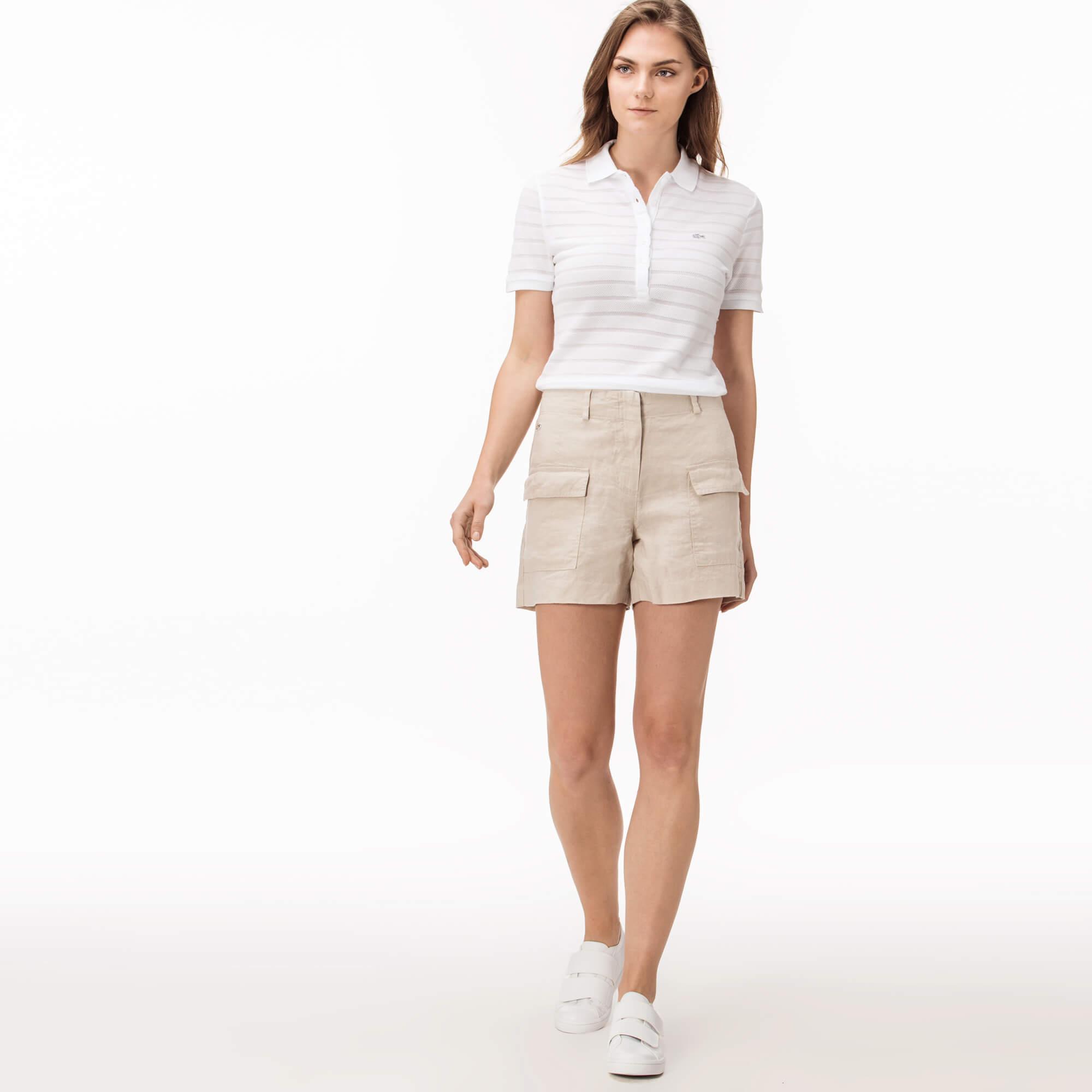 женские шорты lacoste, бежевые