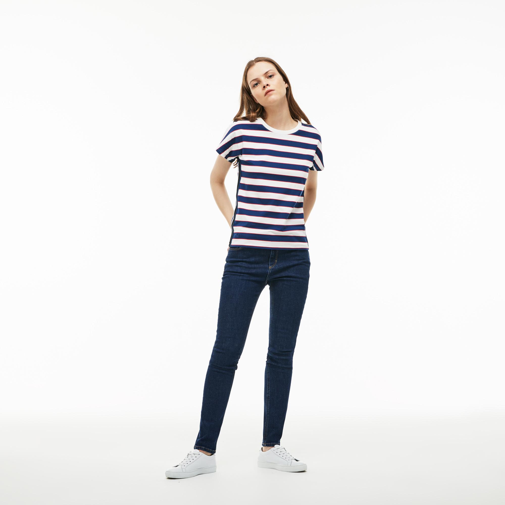 женские джинсы lacoste, синие