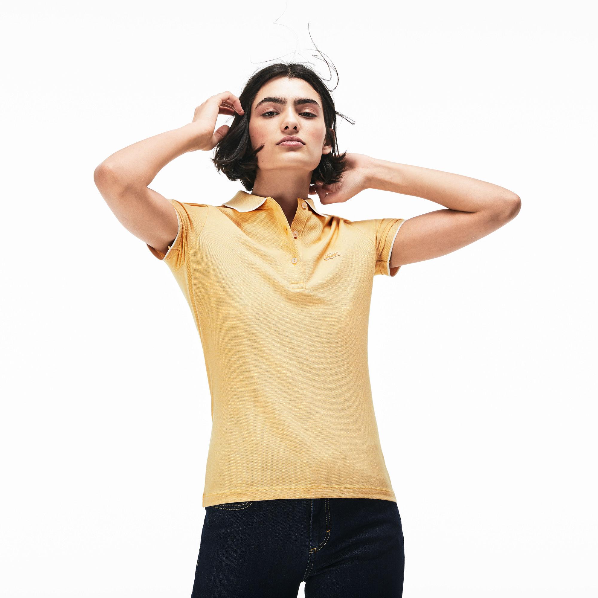 женское поло lacoste, желтое