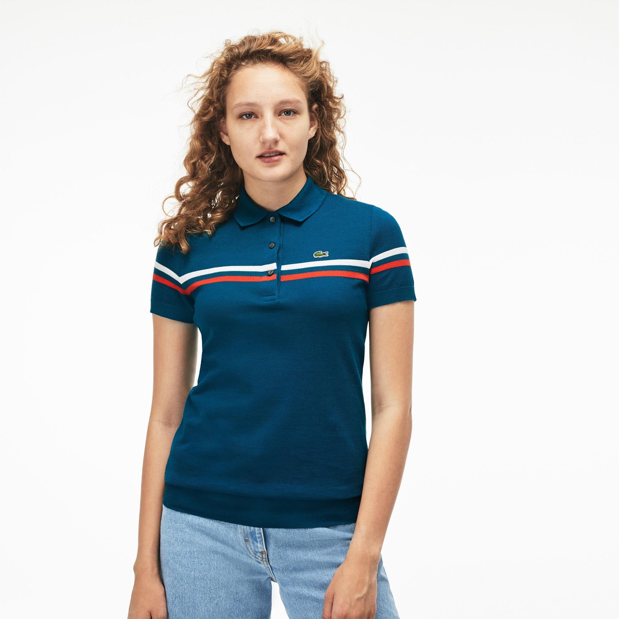 женское поло lacoste, синее