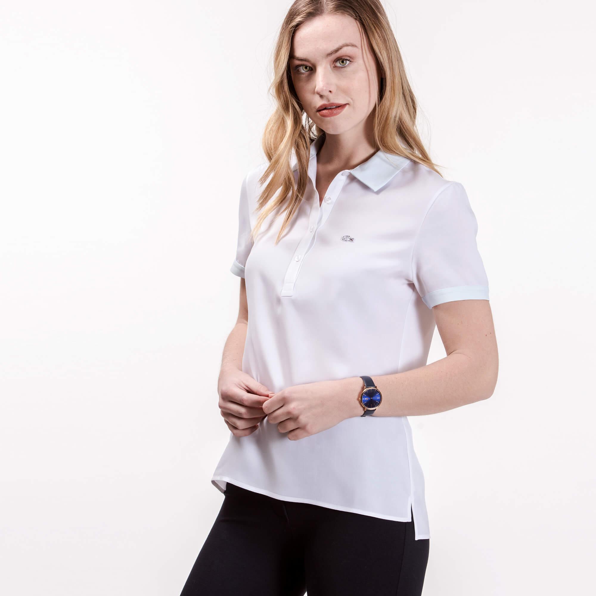 Рубашка Lacoste Regular fitБлузы и рубашки<br>Детали: женская рубашка с логотипом Lacoste в тон изделия   \ Материал: 52% вискоза 48% купро \ Страна производства: Турция