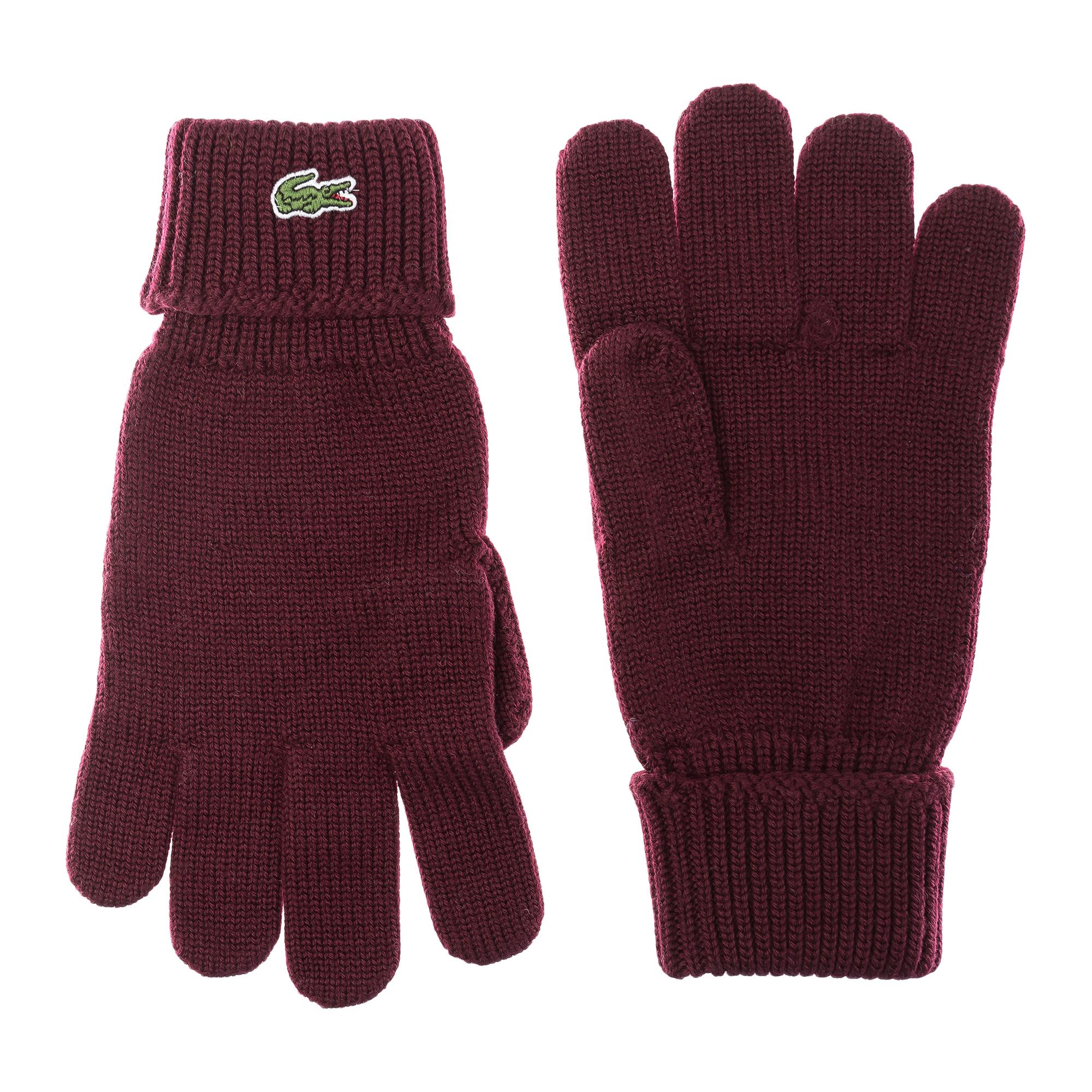 мужские перчатки lacoste, бордовые