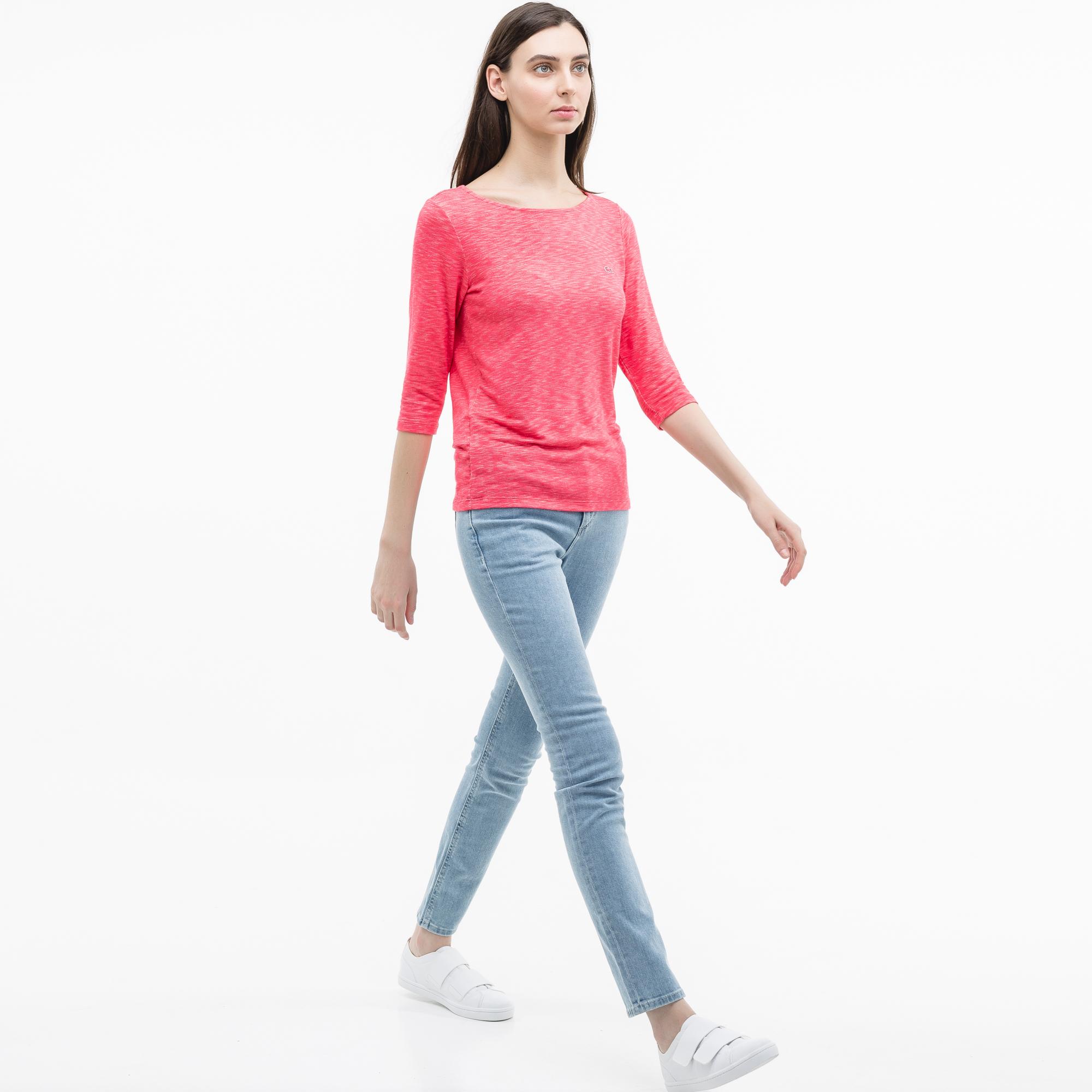 женская футболка lacoste, розовая