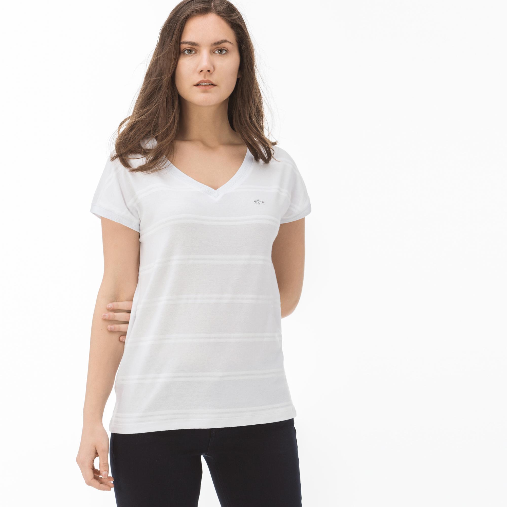 женская футболка lacoste, бежевая